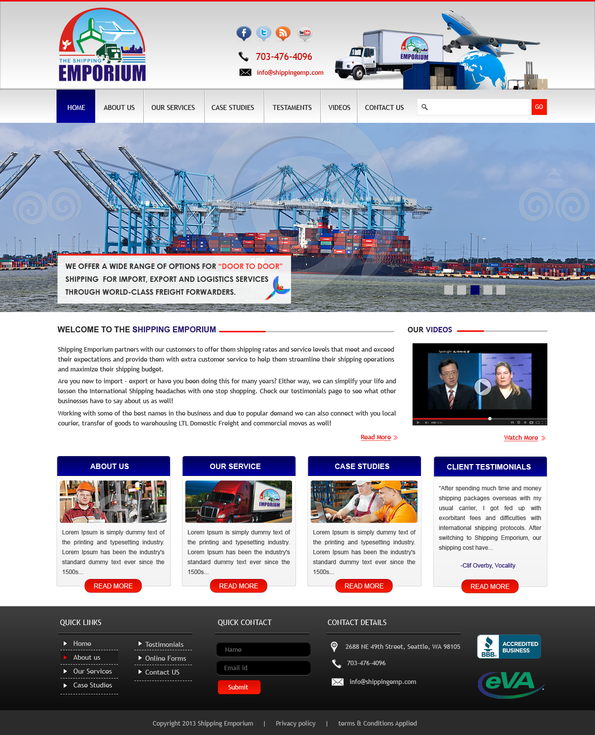 Web Page Design by Vishwa Km - Entry No. 36 in the Web Page Design Contest Artistic Web Page Design for The Shipping Emporium Website.