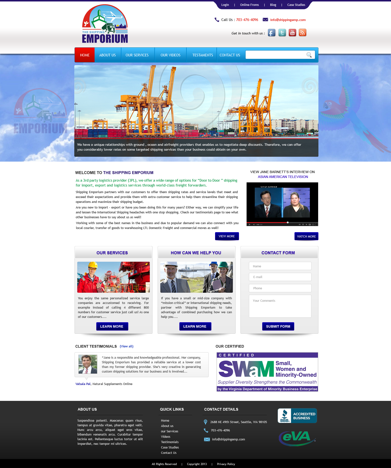 Web Page Design by Vishwa Km - Entry No. 45 in the Web Page Design Contest Artistic Web Page Design for The Shipping Emporium Website.