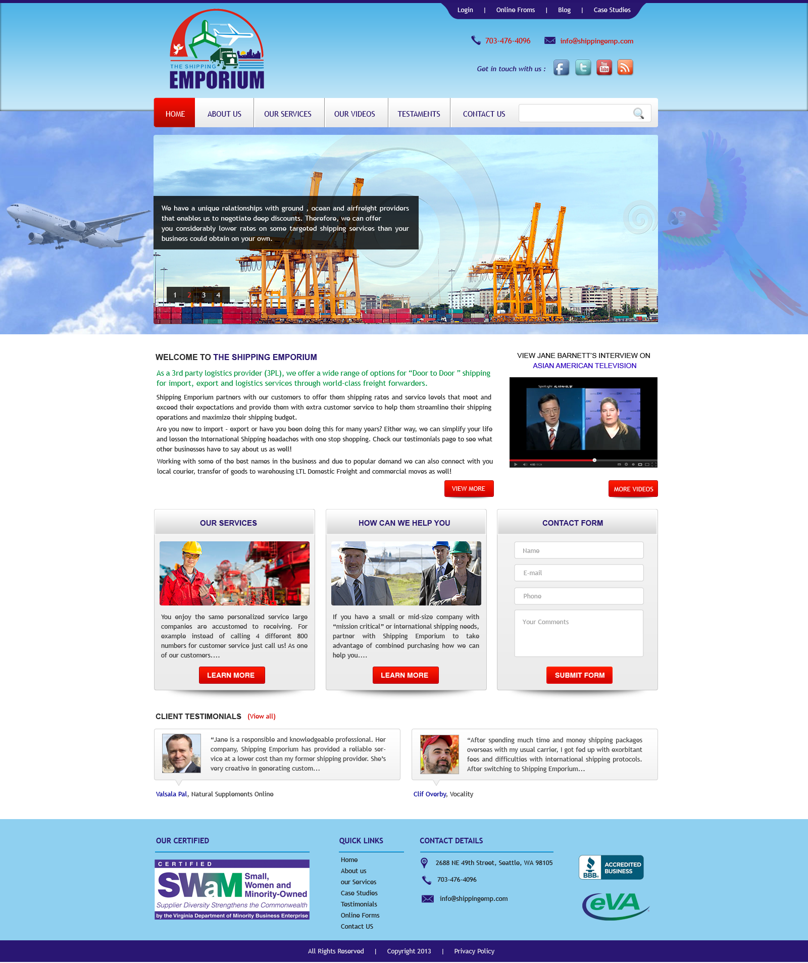 Web Page Design by Vishwa Km - Entry No. 48 in the Web Page Design Contest Artistic Web Page Design for The Shipping Emporium Website.