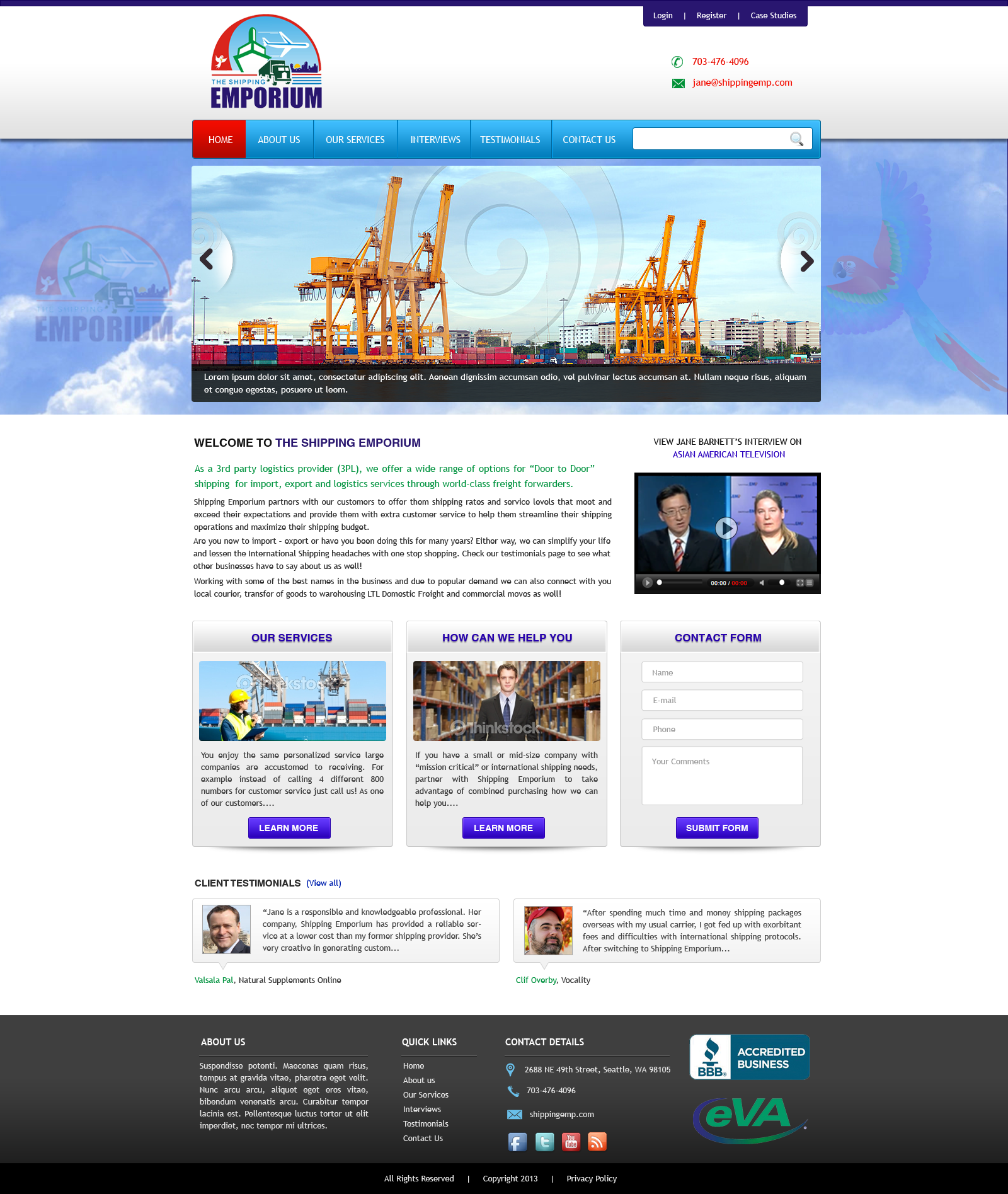Web Page Design by Vishwa Km - Entry No. 53 in the Web Page Design Contest Artistic Web Page Design for The Shipping Emporium Website.