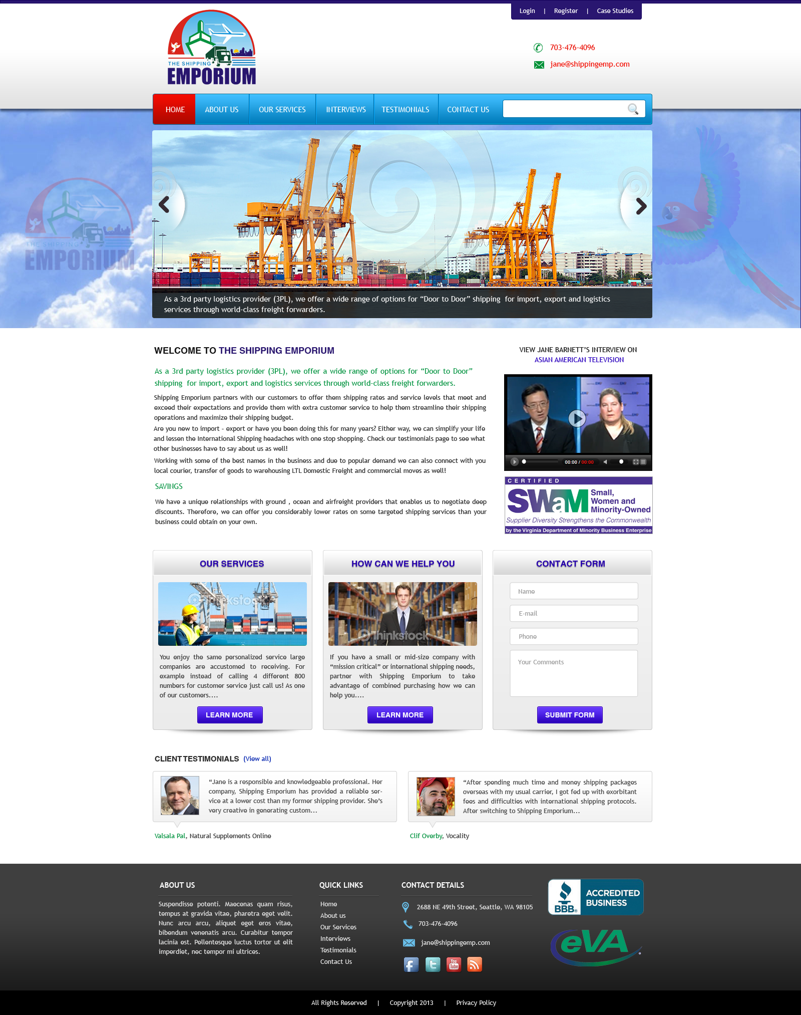 Web Page Design by Vishwa Km - Entry No. 54 in the Web Page Design Contest Artistic Web Page Design for The Shipping Emporium Website.
