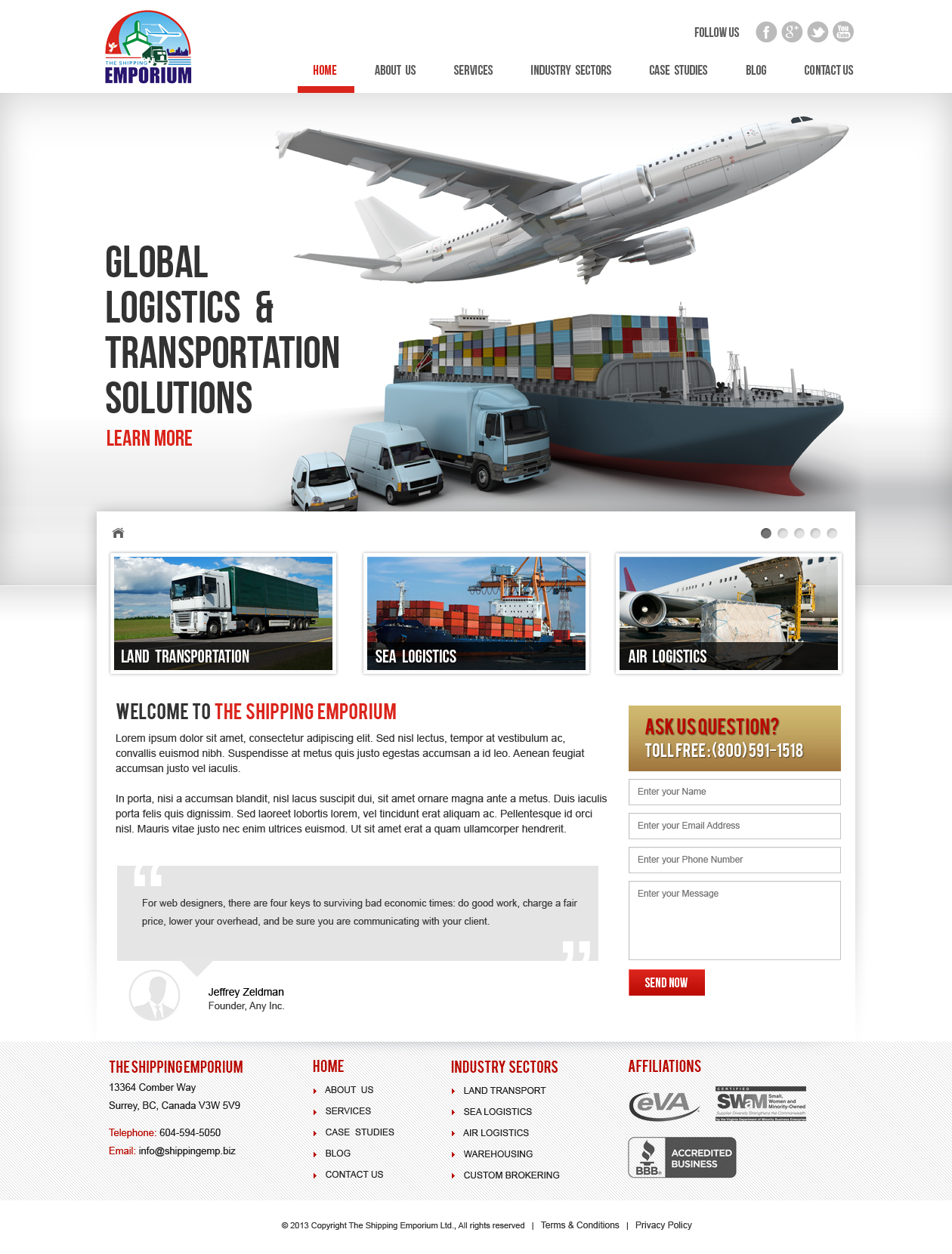 Web Page Design by Emad A Zyed - Entry No. 57 in the Web Page Design Contest Artistic Web Page Design for The Shipping Emporium Website.