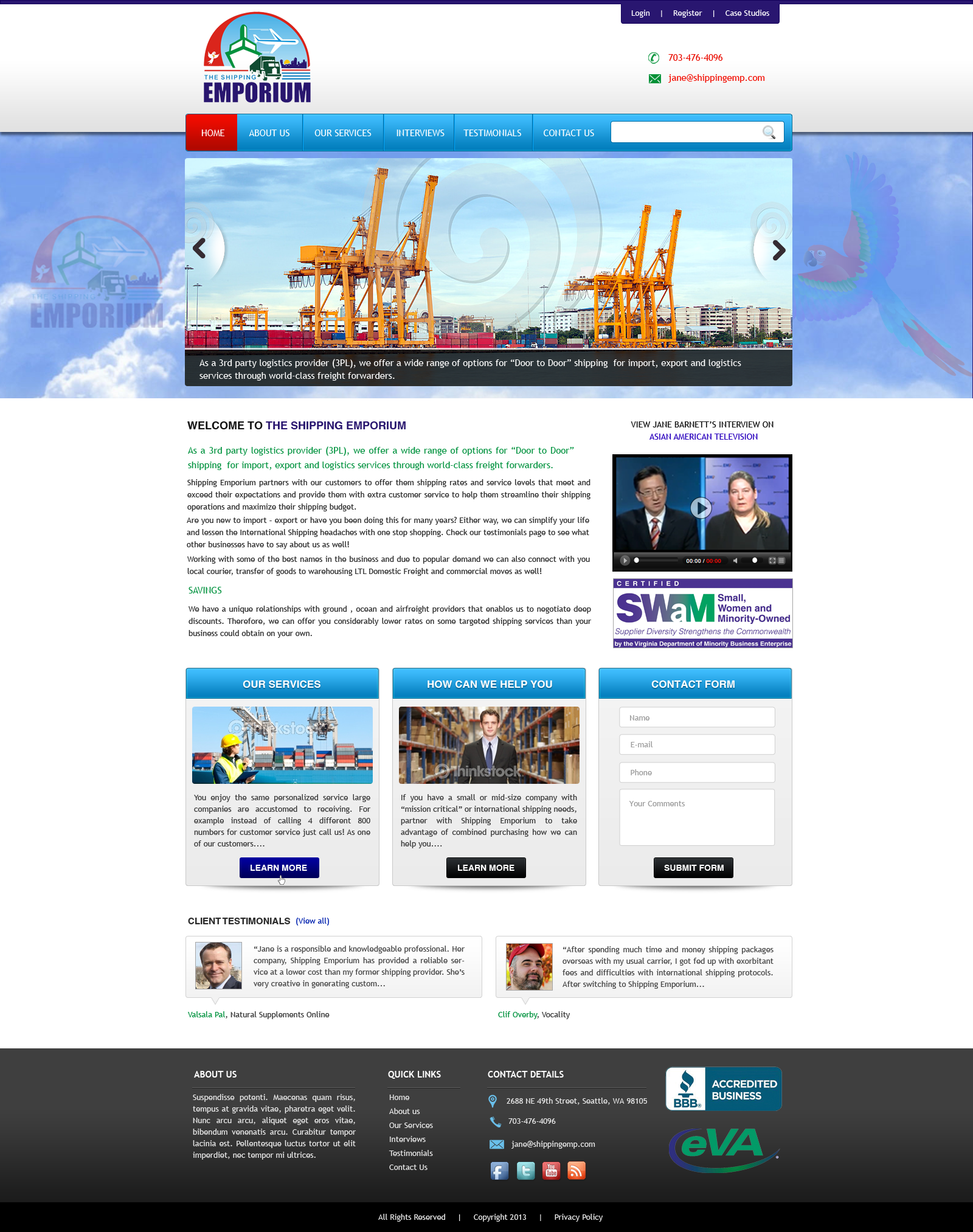 Web Page Design by Vishwa Km - Entry No. 62 in the Web Page Design Contest Artistic Web Page Design for The Shipping Emporium Website.