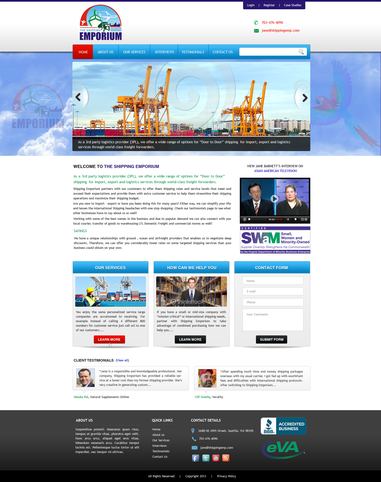 Web Page Design by Vishwa Km - Entry No. 63 in the Web Page Design Contest Artistic Web Page Design for The Shipping Emporium Website.