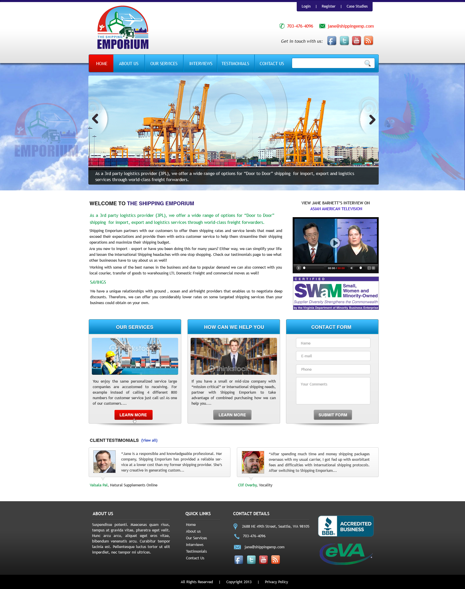 Web Page Design by Vishwa Km - Entry No. 64 in the Web Page Design Contest Artistic Web Page Design for The Shipping Emporium Website.