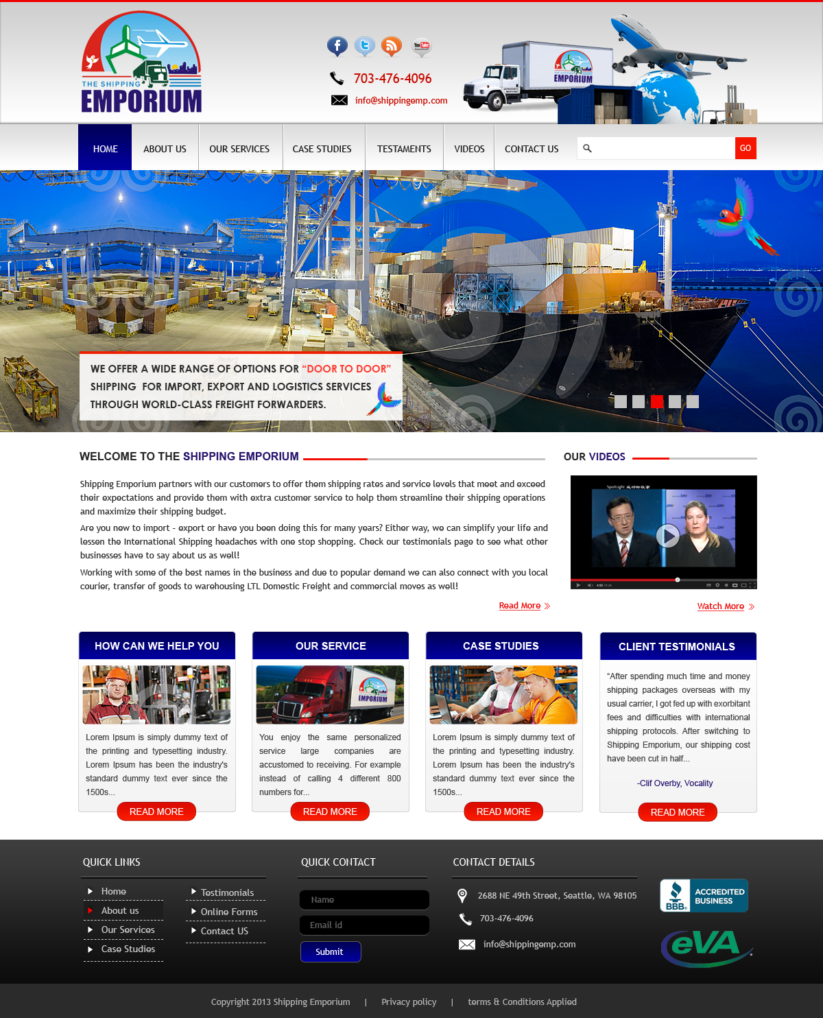 Web Page Design by Vishwa Km - Entry No. 69 in the Web Page Design Contest Artistic Web Page Design for The Shipping Emporium Website.
