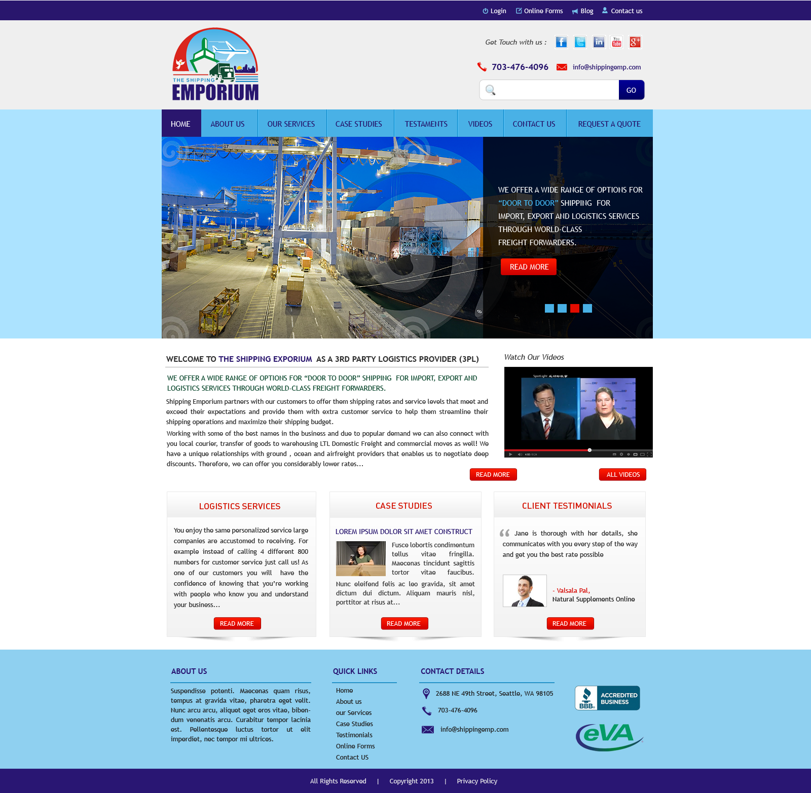 Web Page Design by Vishwa Km - Entry No. 72 in the Web Page Design Contest Artistic Web Page Design for The Shipping Emporium Website.