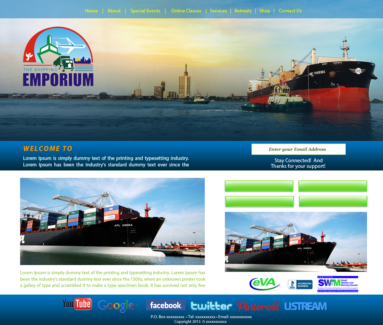 Web Page Design by zesthar - Entry No. 77 in the Web Page Design Contest Artistic Web Page Design for The Shipping Emporium Website.