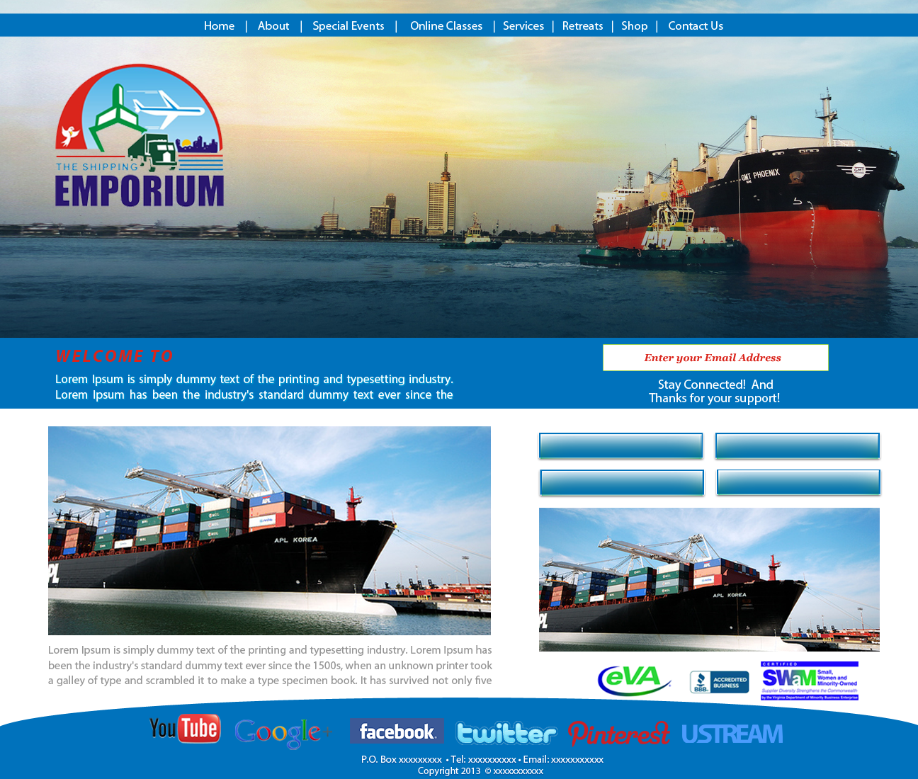 Web Page Design by zesthar - Entry No. 78 in the Web Page Design Contest Artistic Web Page Design for The Shipping Emporium Website.