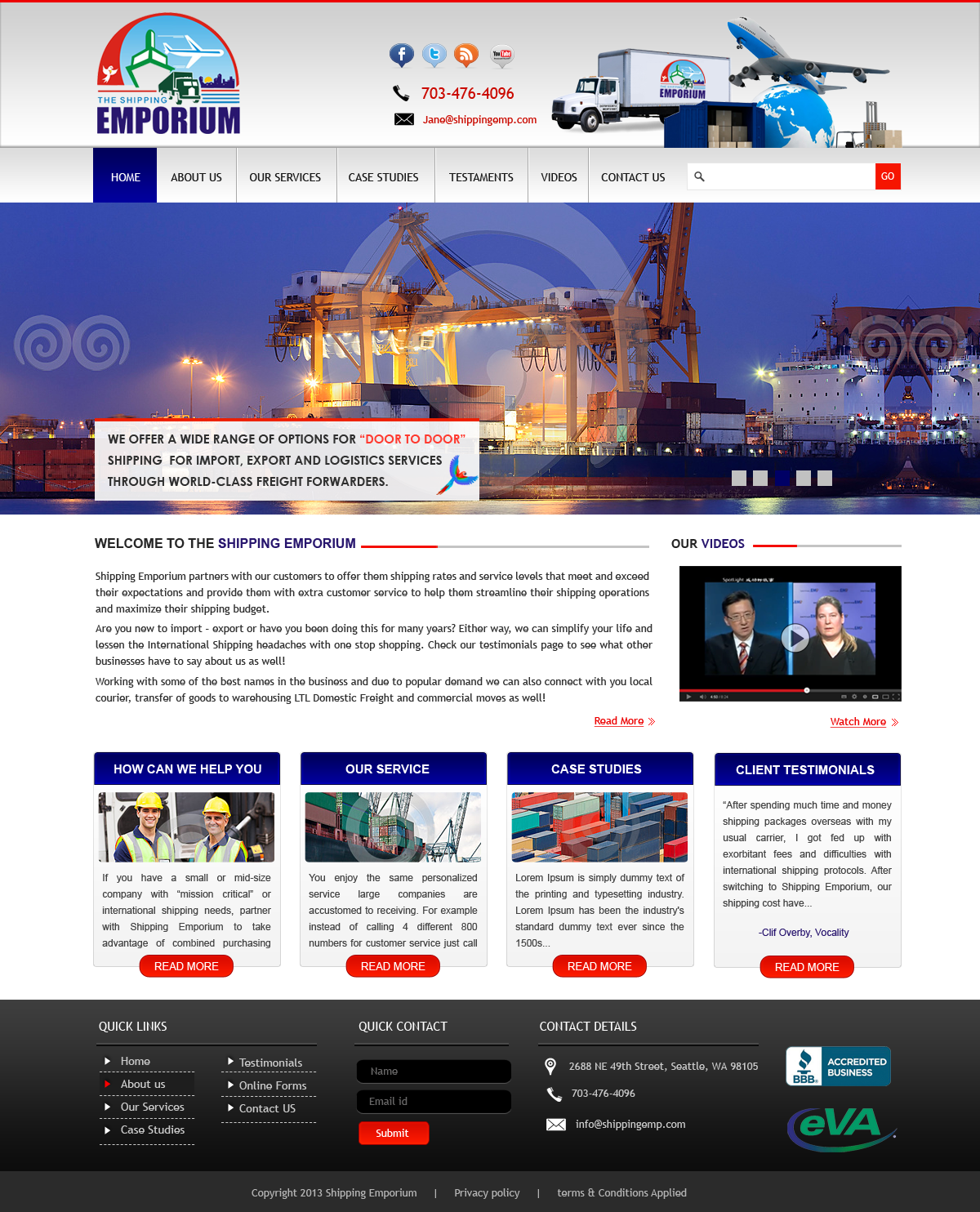Web Page Design by Vishwa Km - Entry No. 84 in the Web Page Design Contest Artistic Web Page Design for The Shipping Emporium Website.