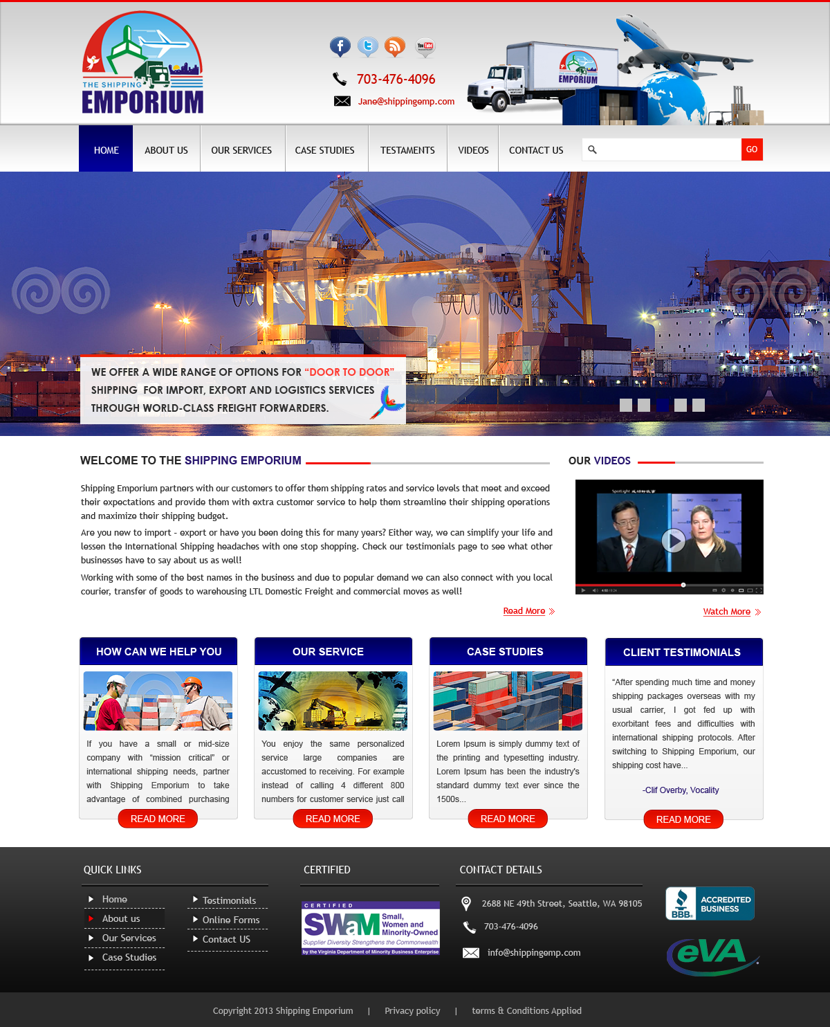 Web Page Design by Vishwa Km - Entry No. 85 in the Web Page Design Contest Artistic Web Page Design for The Shipping Emporium Website.