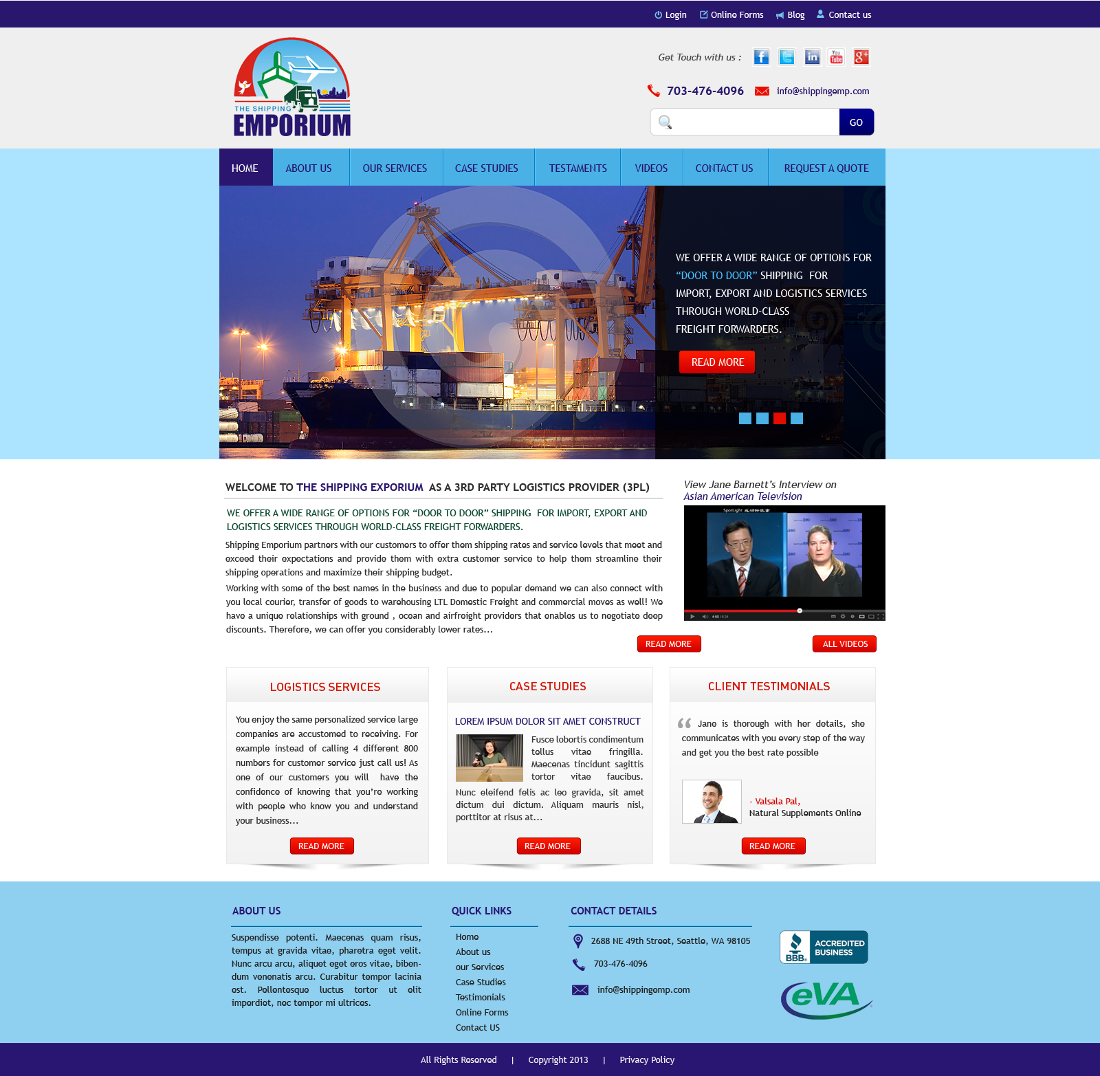 Web Page Design by Vishwa Km - Entry No. 86 in the Web Page Design Contest Artistic Web Page Design for The Shipping Emporium Website.