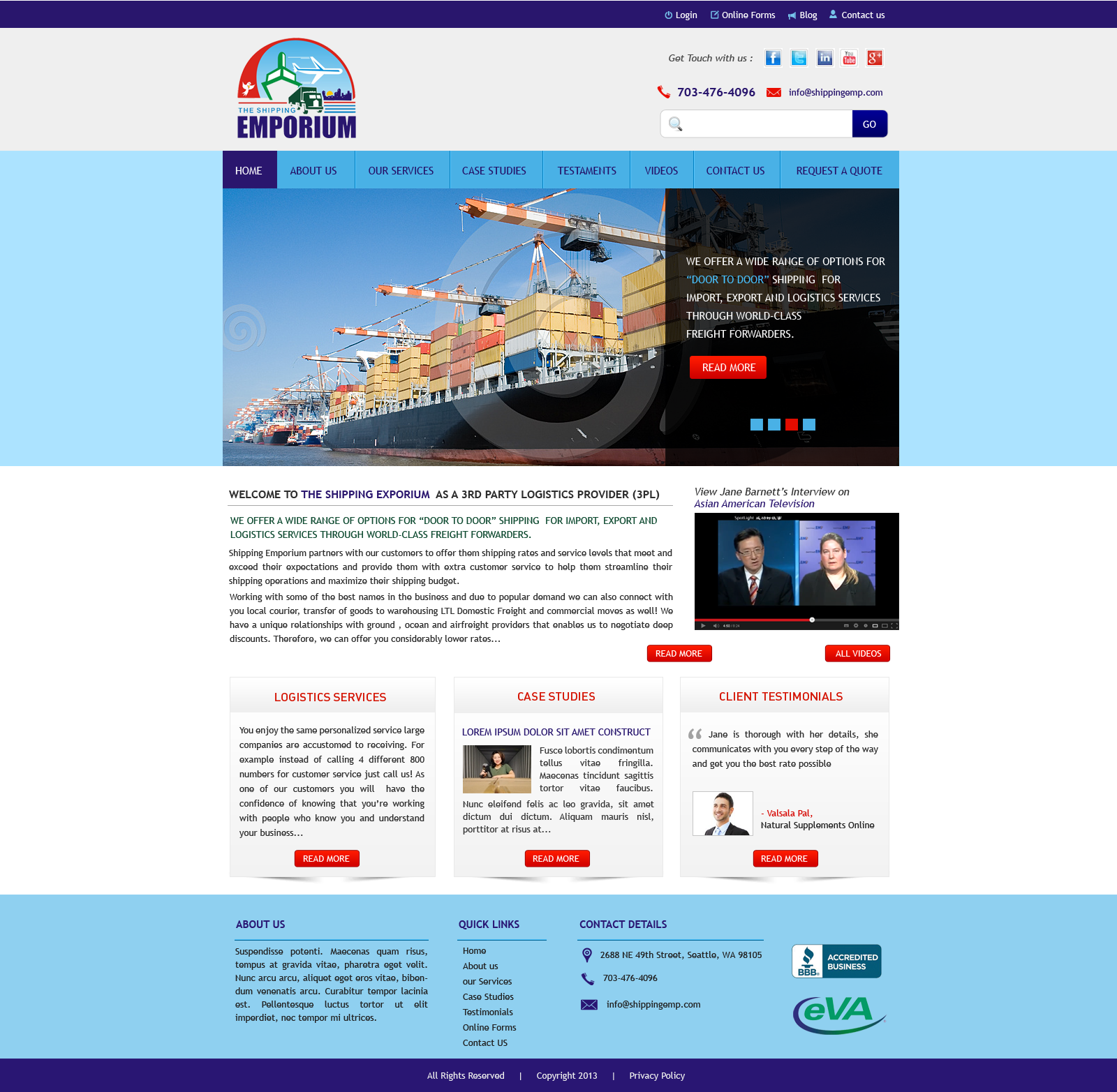 Web Page Design by Vishwa Km - Entry No. 89 in the Web Page Design Contest Artistic Web Page Design for The Shipping Emporium Website.