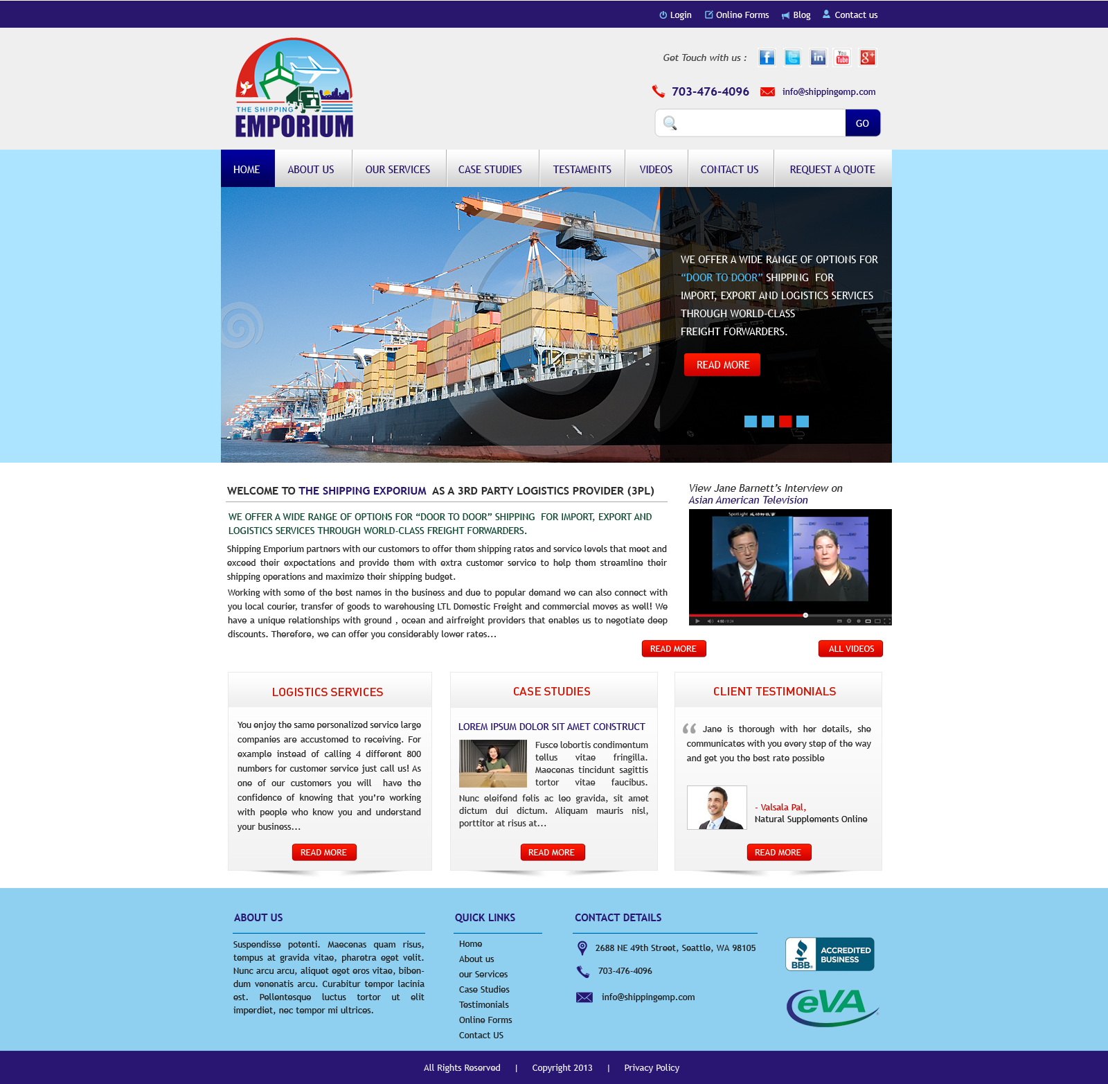 Web Page Design by Vishwa Km - Entry No. 90 in the Web Page Design Contest Artistic Web Page Design for The Shipping Emporium Website.