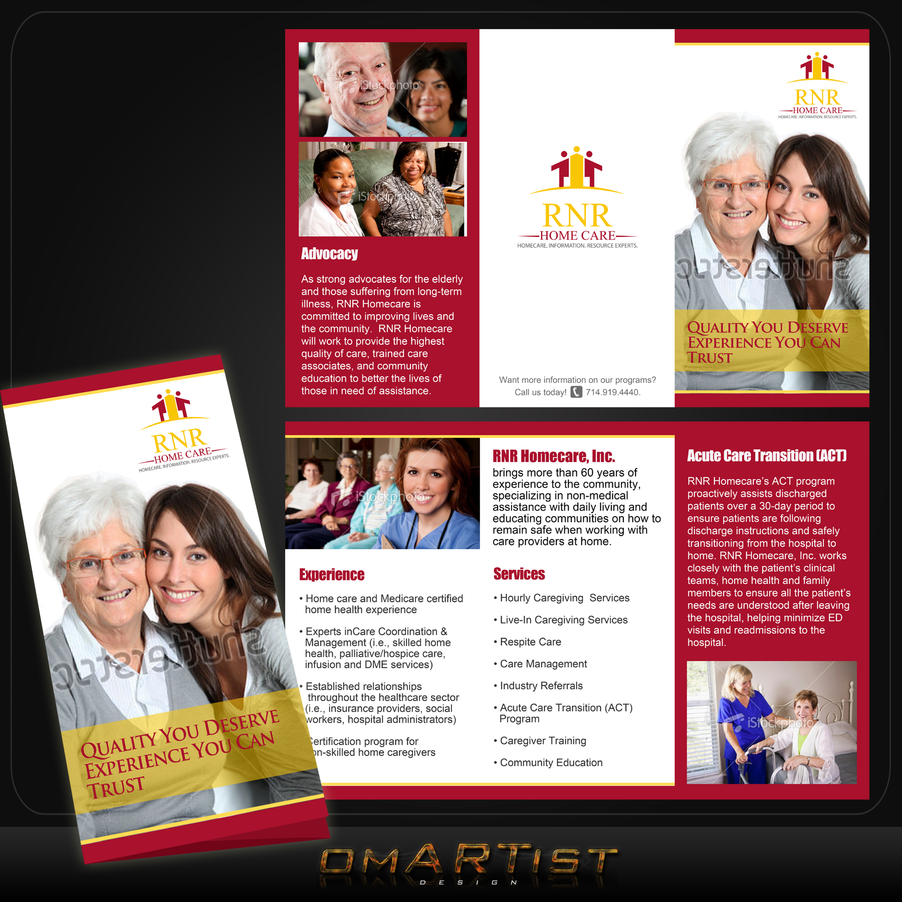 Print Design by omARTist - Entry No. 29 in the Print Design Contest Captivating Print Design for RNR Homecare, Inc..