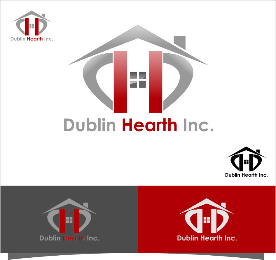 Logo Design by Ngepet_art - Entry No. 18 in the Logo Design Contest clean professional  Logo Design for Dublin Hearth Inc. with a splash of fun with letter head.