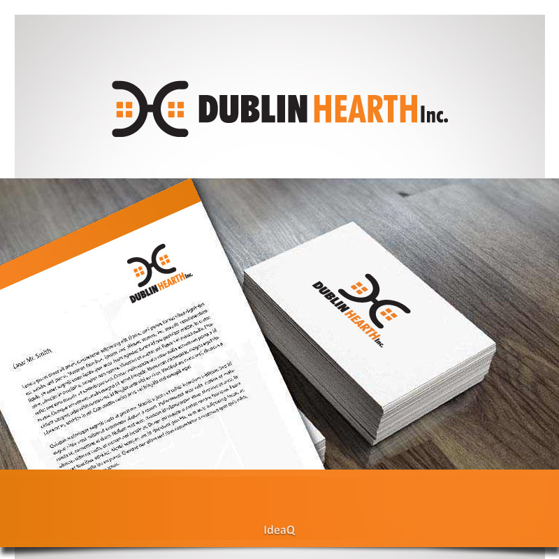 Logo Design by Private User - Entry No. 25 in the Logo Design Contest clean professional  Logo Design for Dublin Hearth Inc. with a splash of fun with letter head.