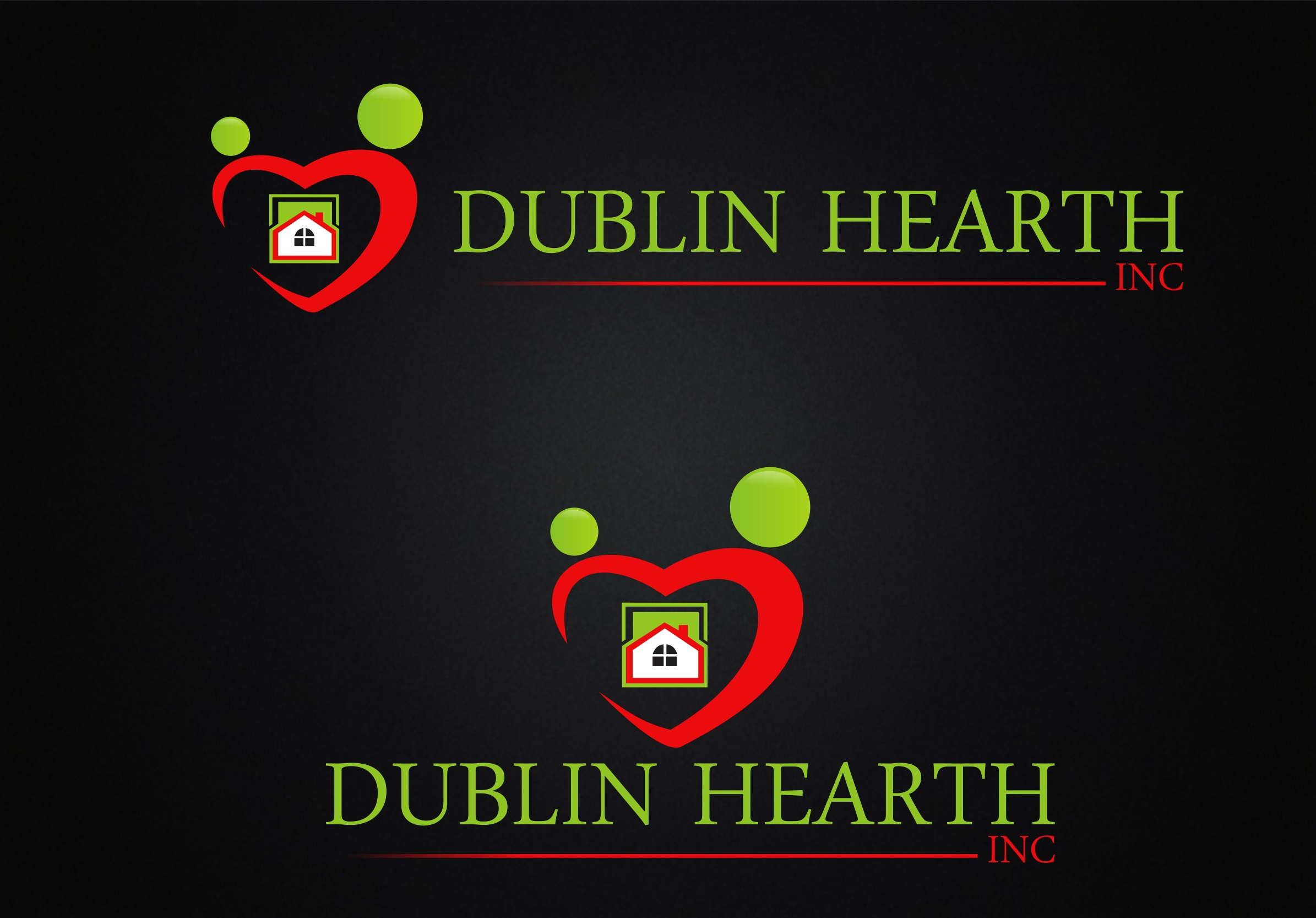 Logo Design by Web Sourcing - Entry No. 43 in the Logo Design Contest clean professional  Logo Design for Dublin Hearth Inc. with a splash of fun with letter head.