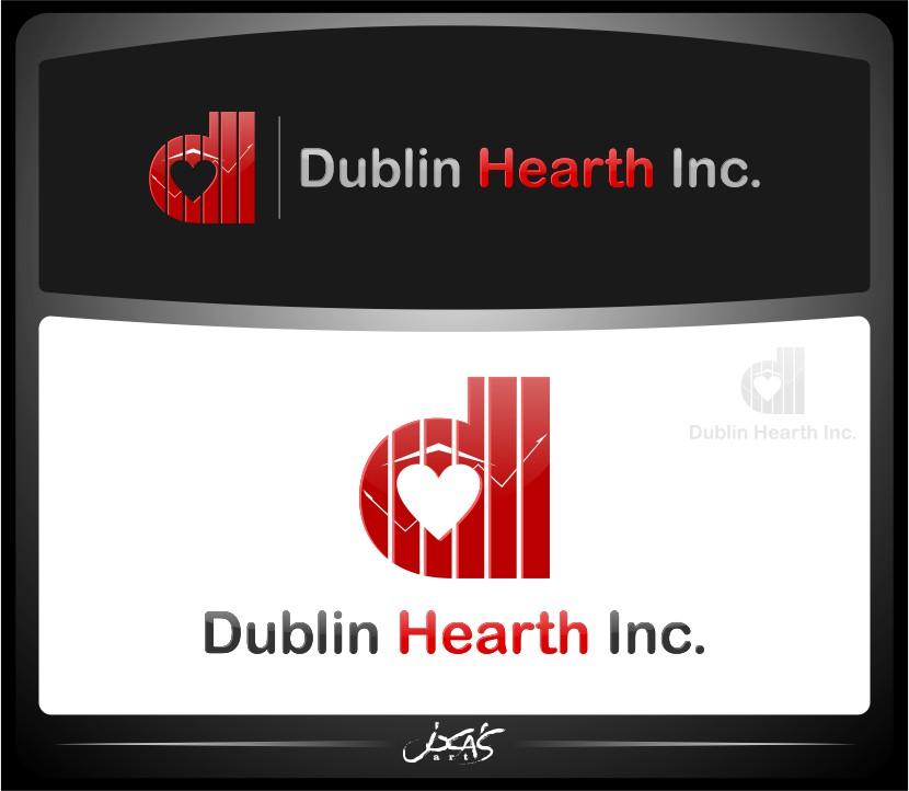 Logo Design by joca - Entry No. 82 in the Logo Design Contest clean professional  Logo Design for Dublin Hearth Inc. with a splash of fun with letter head.