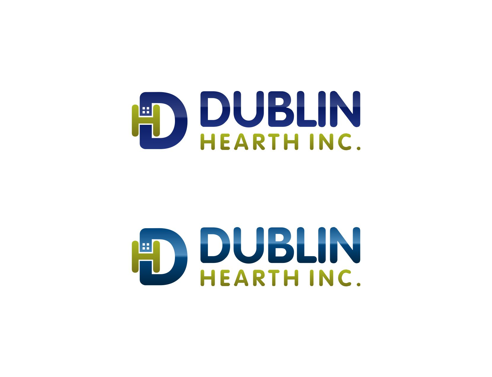 Logo Design by Muhammad Aslam - Entry No. 83 in the Logo Design Contest clean professional  Logo Design for Dublin Hearth Inc. with a splash of fun with letter head.