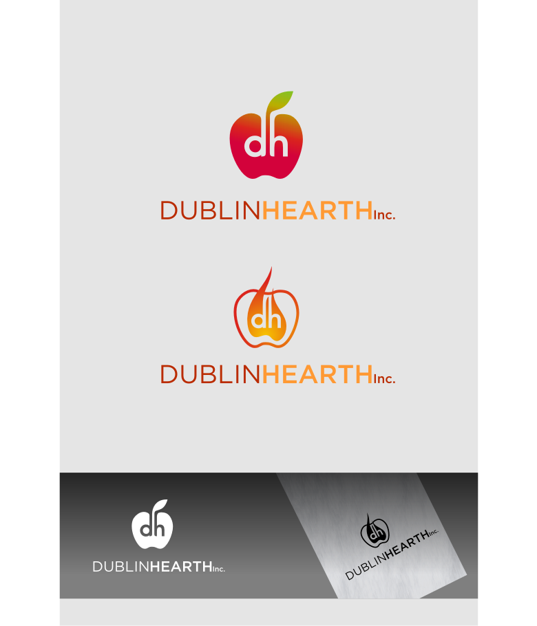 Logo Design by Muhammad Nasrul chasib - Entry No. 136 in the Logo Design Contest clean professional  Logo Design for Dublin Hearth Inc. with a splash of fun with letter head.