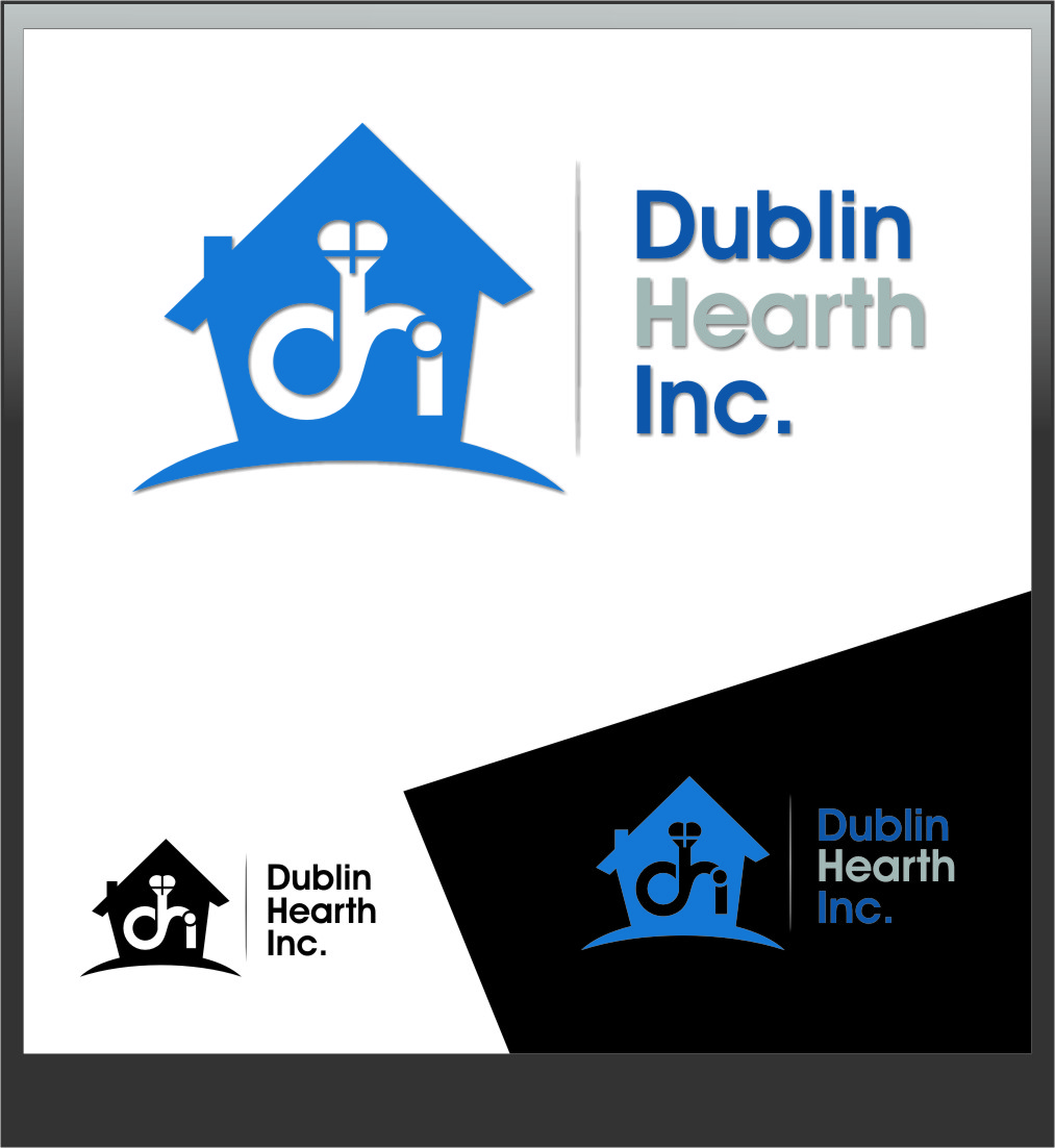 Logo Design by RoSyid Rono-Rene On Java - Entry No. 147 in the Logo Design Contest clean professional  Logo Design for Dublin Hearth Inc. with a splash of fun with letter head.