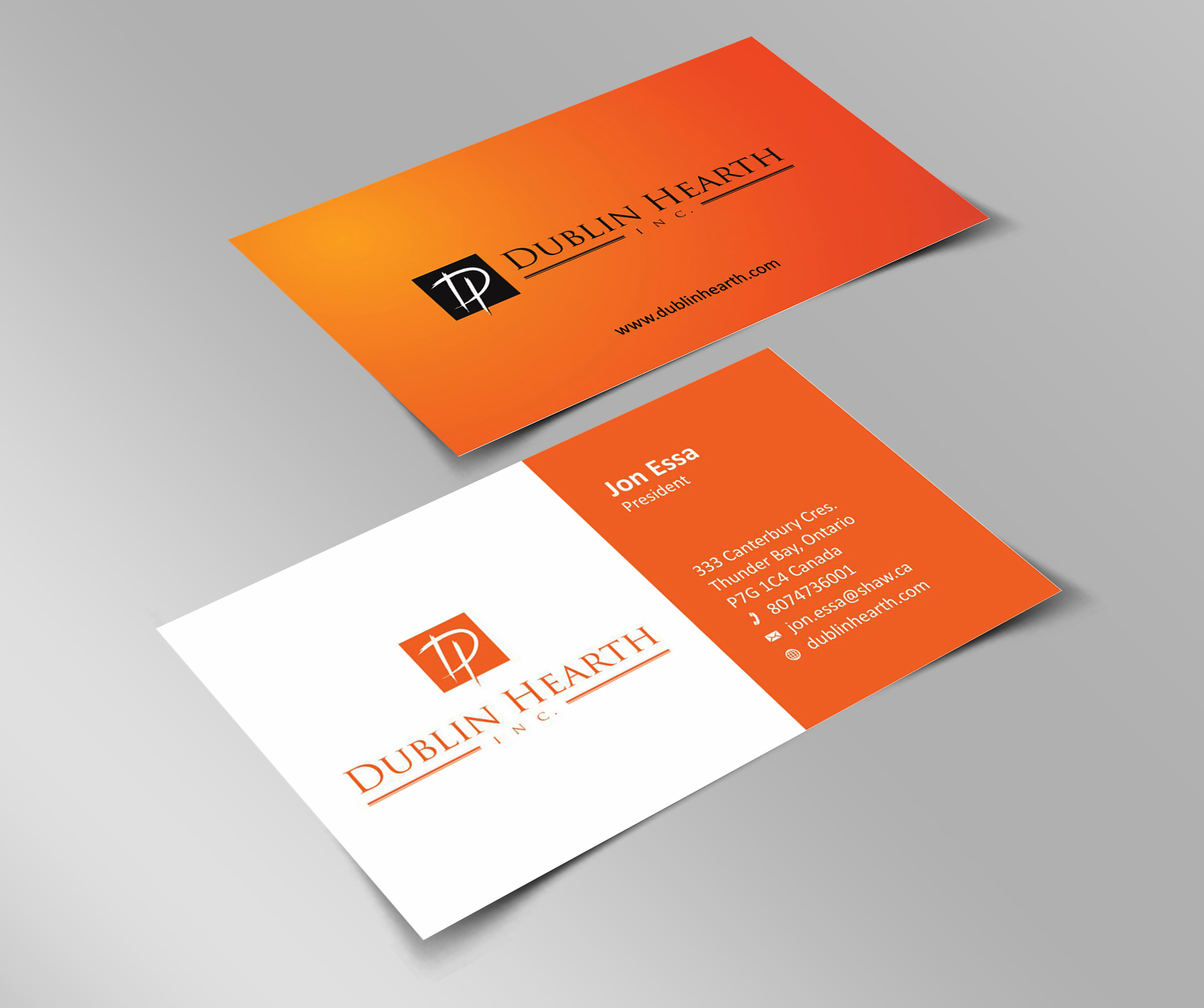 Business Card Design by Muhammad Aslam - Entry No. 9 in the Business Card Design Contest Business Card and Letterhead  Design Dublin Hearth Inc..