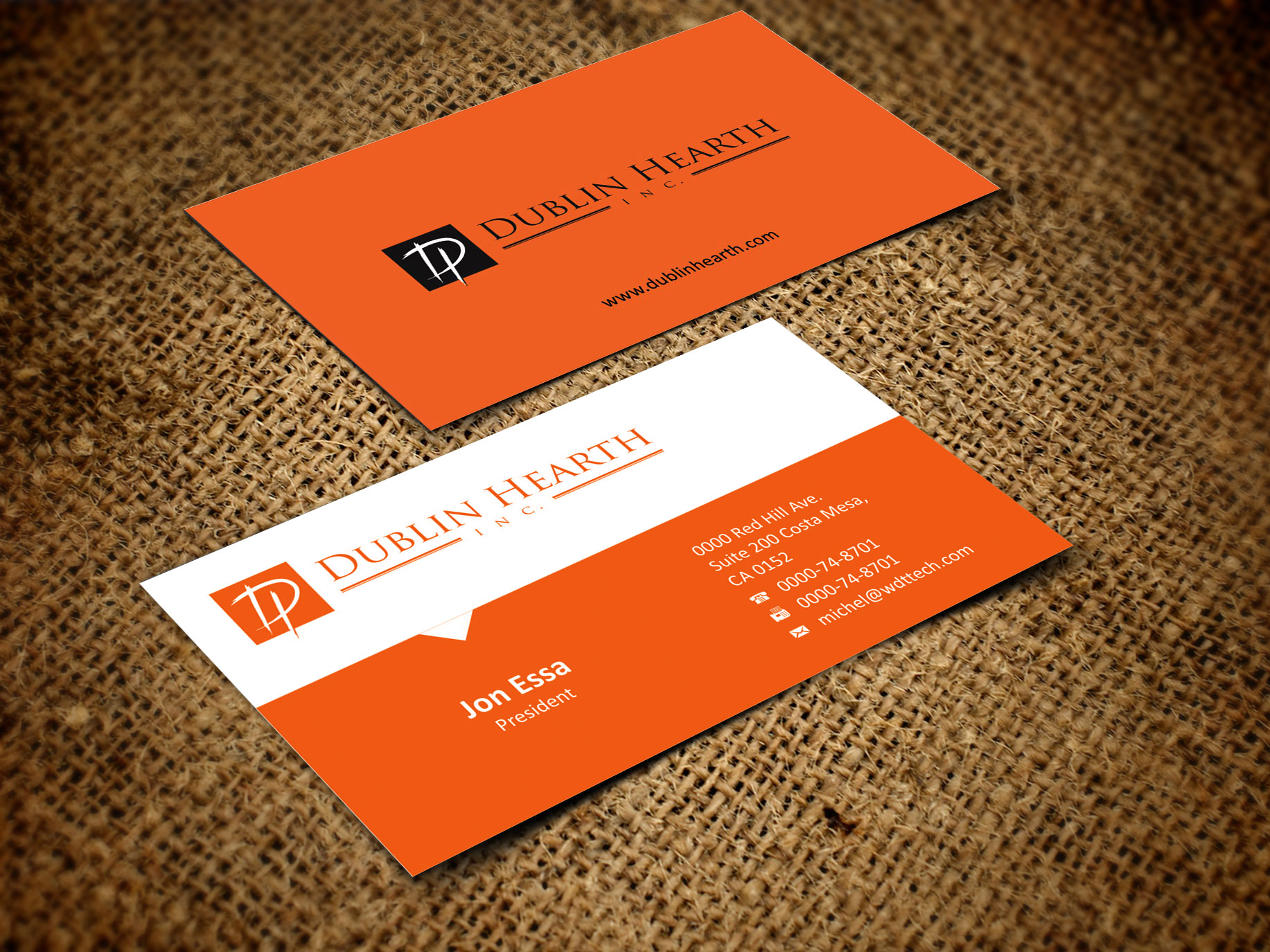 Business Card Design by Muhammad Aslam - Entry No. 10 in the Business Card Design Contest Business Card and Letterhead  Design Dublin Hearth Inc..