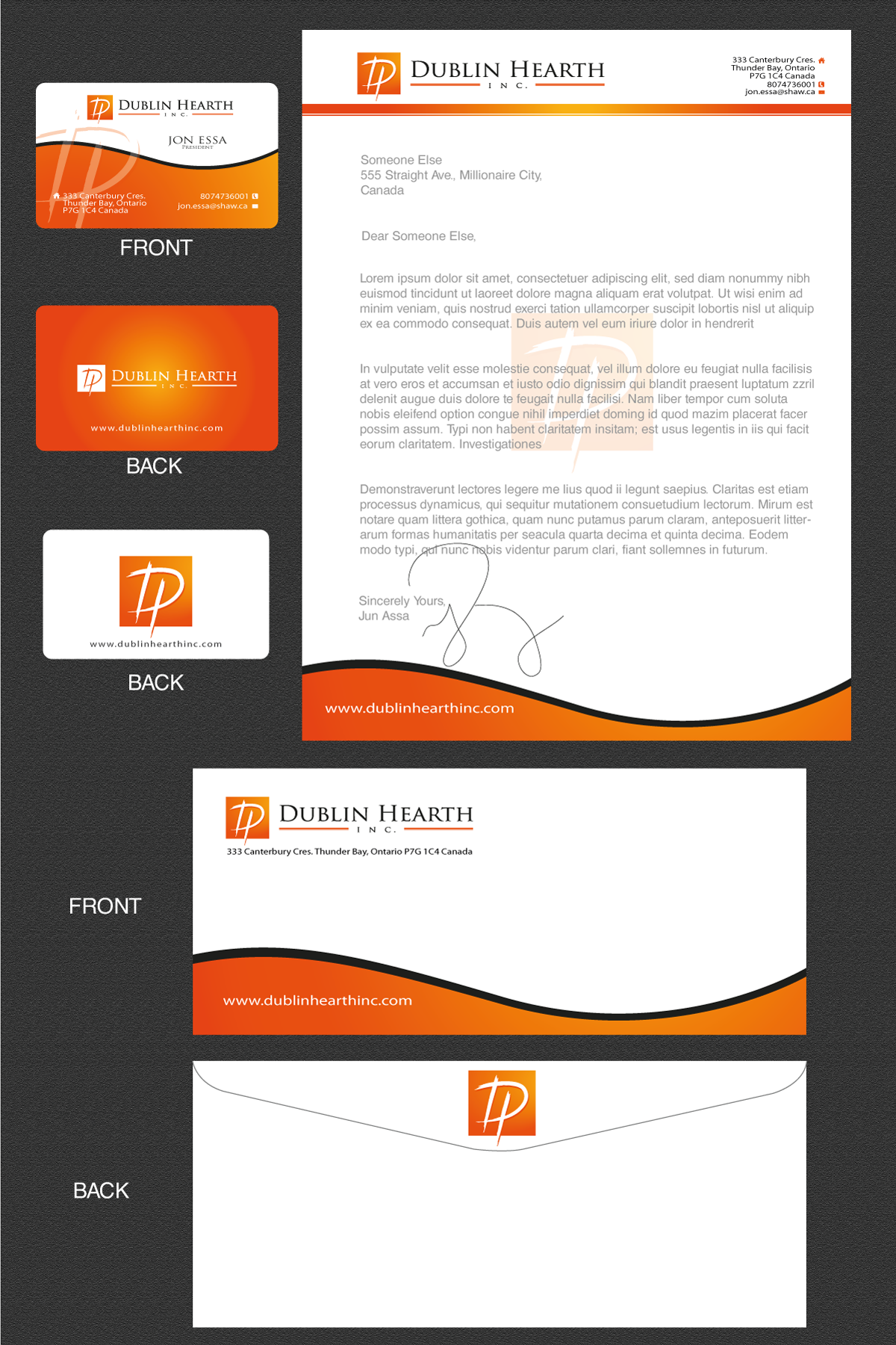 Business Card Design by rockin - Entry No. 12 in the Business Card Design Contest Business Card and Letterhead  Design Dublin Hearth Inc..