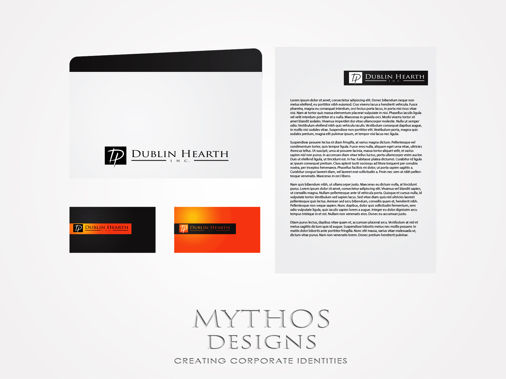 Business Card Design by Mythos Designs - Entry No. 22 in the Business Card Design Contest Business Card and Letterhead  Design Dublin Hearth Inc..
