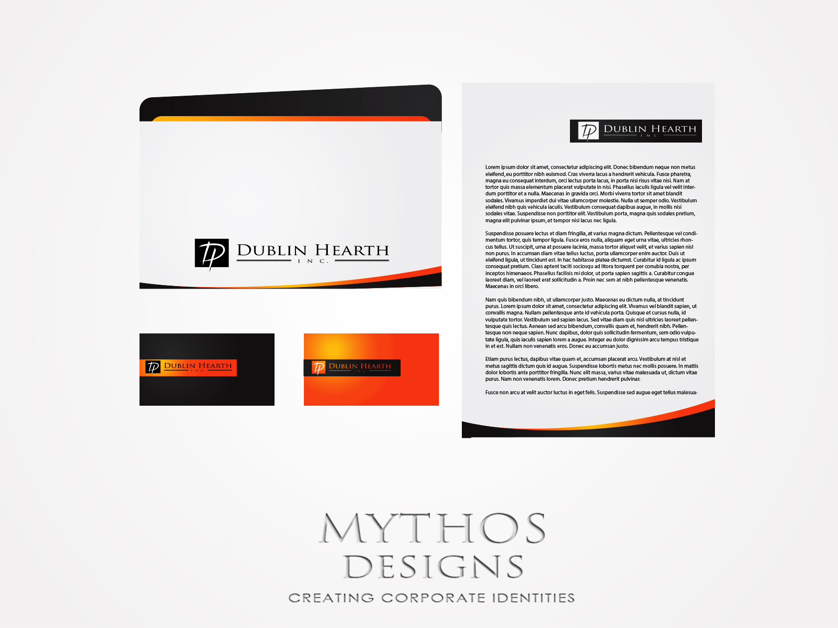 Business Card Design by Mythos Designs - Entry No. 23 in the Business Card Design Contest Business Card and Letterhead  Design Dublin Hearth Inc..