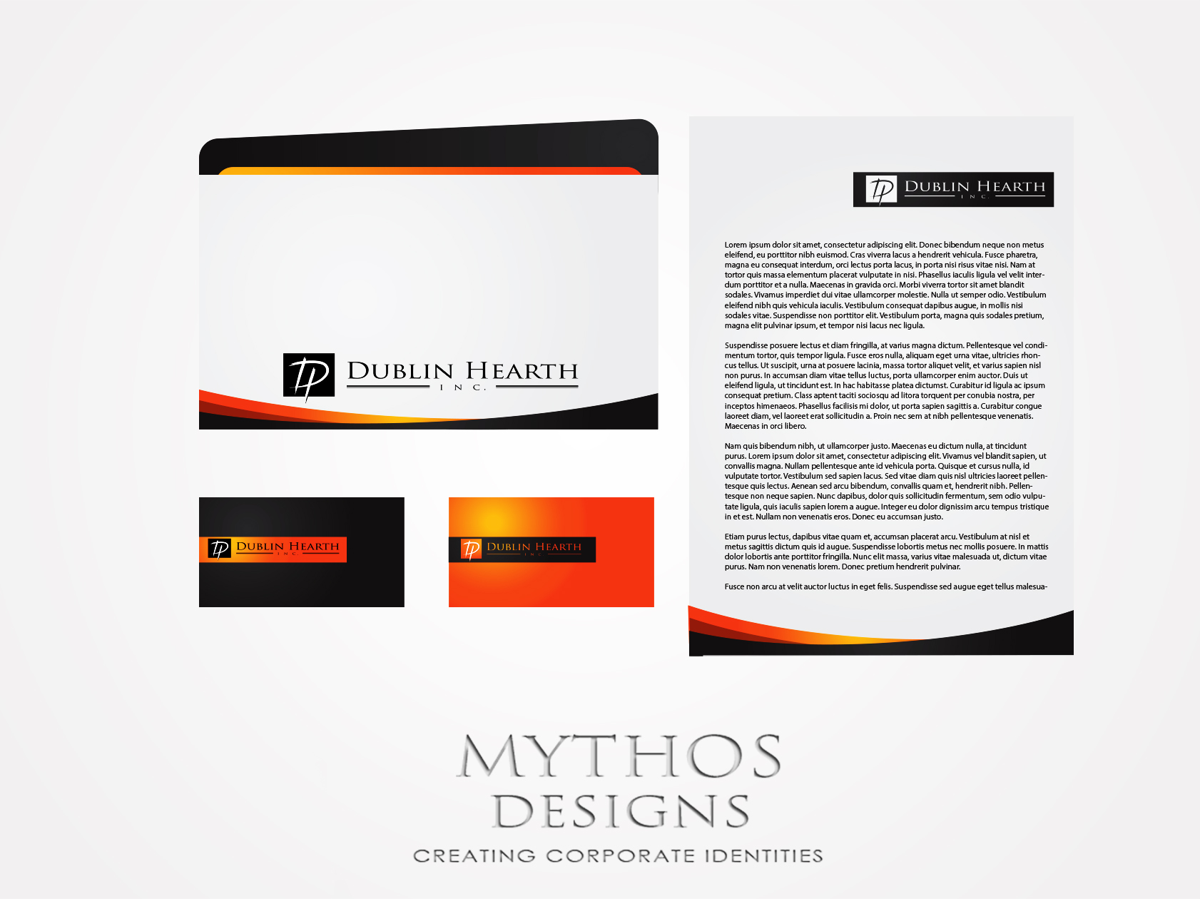 Business Card Design by Mythos Designs - Entry No. 24 in the Business Card Design Contest Business Card and Letterhead  Design Dublin Hearth Inc..