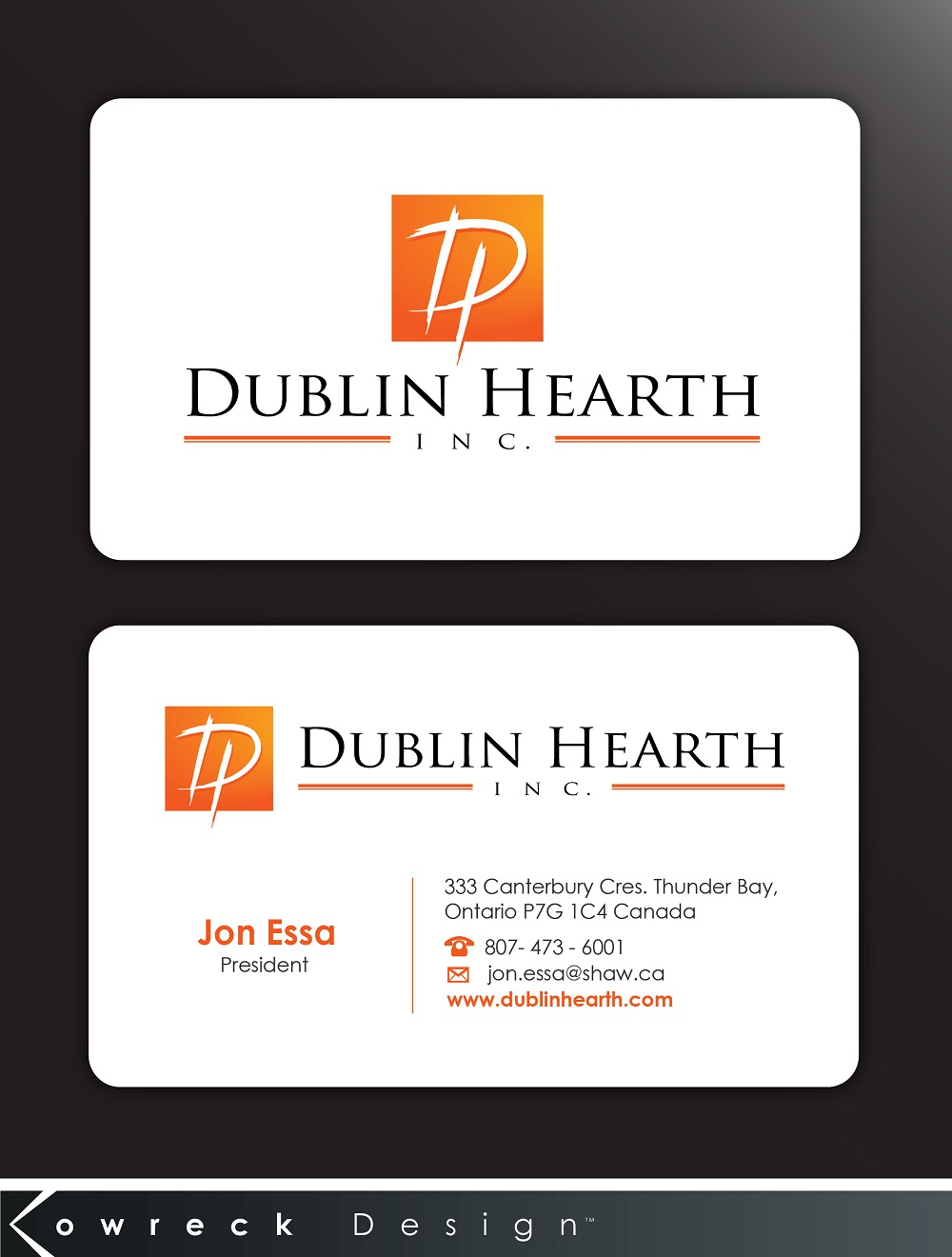Business Card Design by kowreck - Entry No. 45 in the Business Card Design Contest Business Card and Letterhead  Design Dublin Hearth Inc..