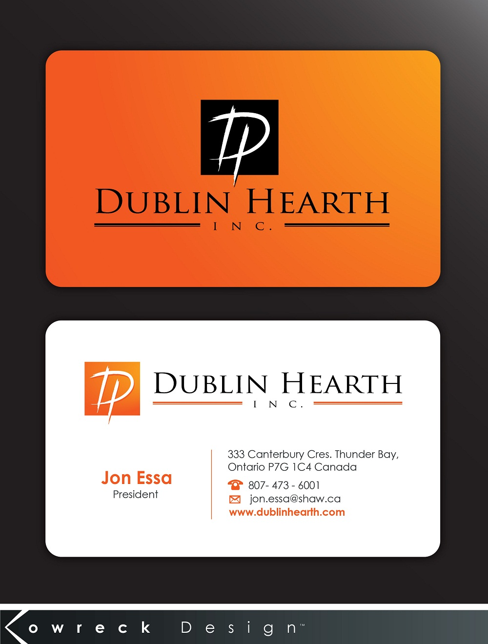 Business Card Design by kowreck - Entry No. 46 in the Business Card Design Contest Business Card and Letterhead  Design Dublin Hearth Inc..
