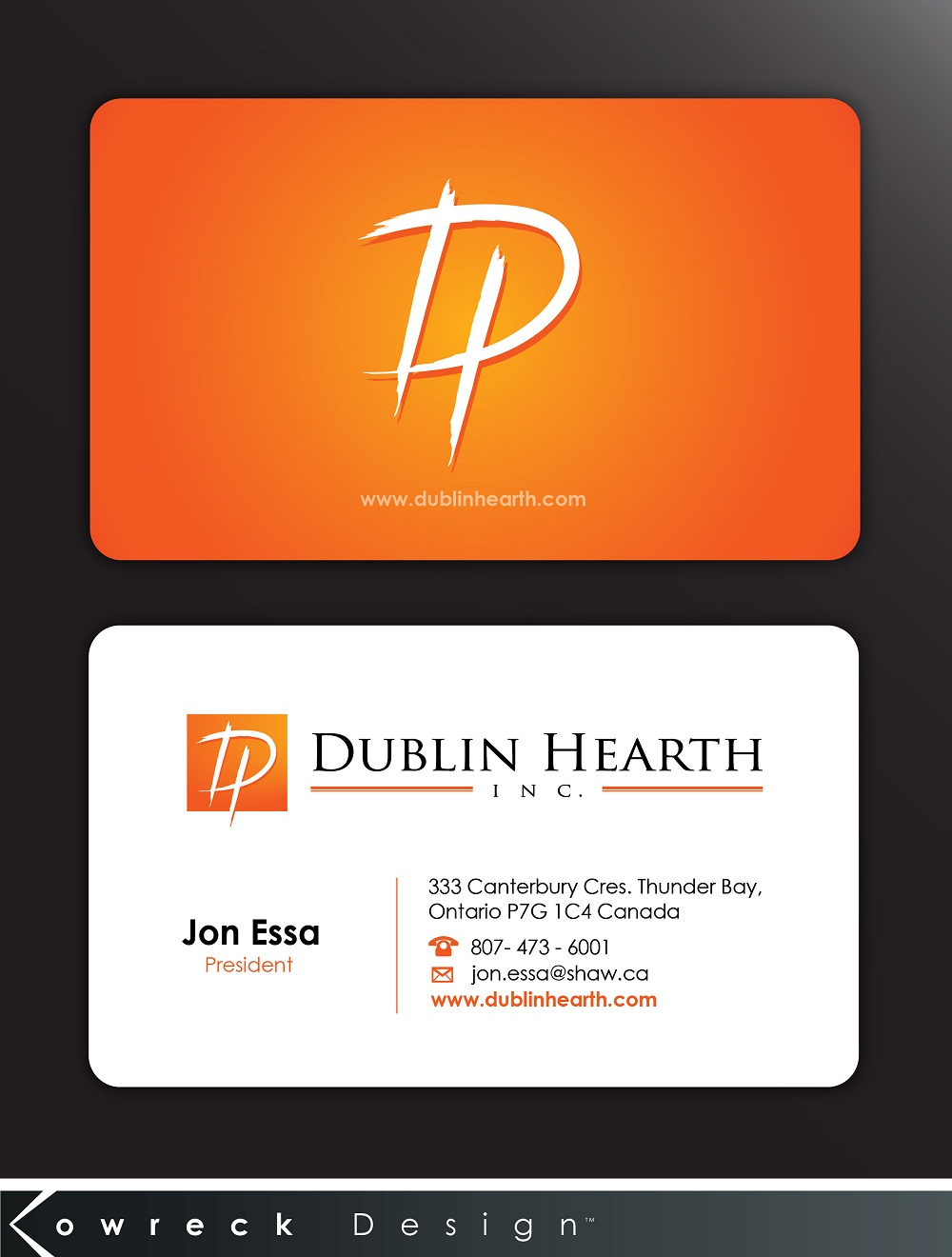 Business Card Design by kowreck - Entry No. 48 in the Business Card Design Contest Business Card and Letterhead  Design Dublin Hearth Inc..