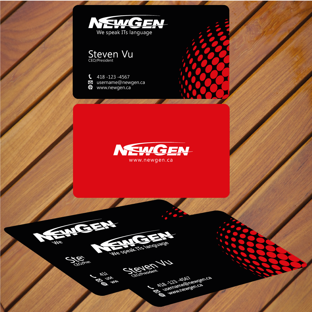 Business Card Design by rockin - Entry No. 4 in the Business Card Design Contest Inspiring Business Card Design for NewGen Technologies.