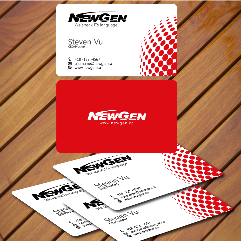 Business Card Design by rockin - Entry No. 5 in the Business Card Design Contest Inspiring Business Card Design for NewGen Technologies.
