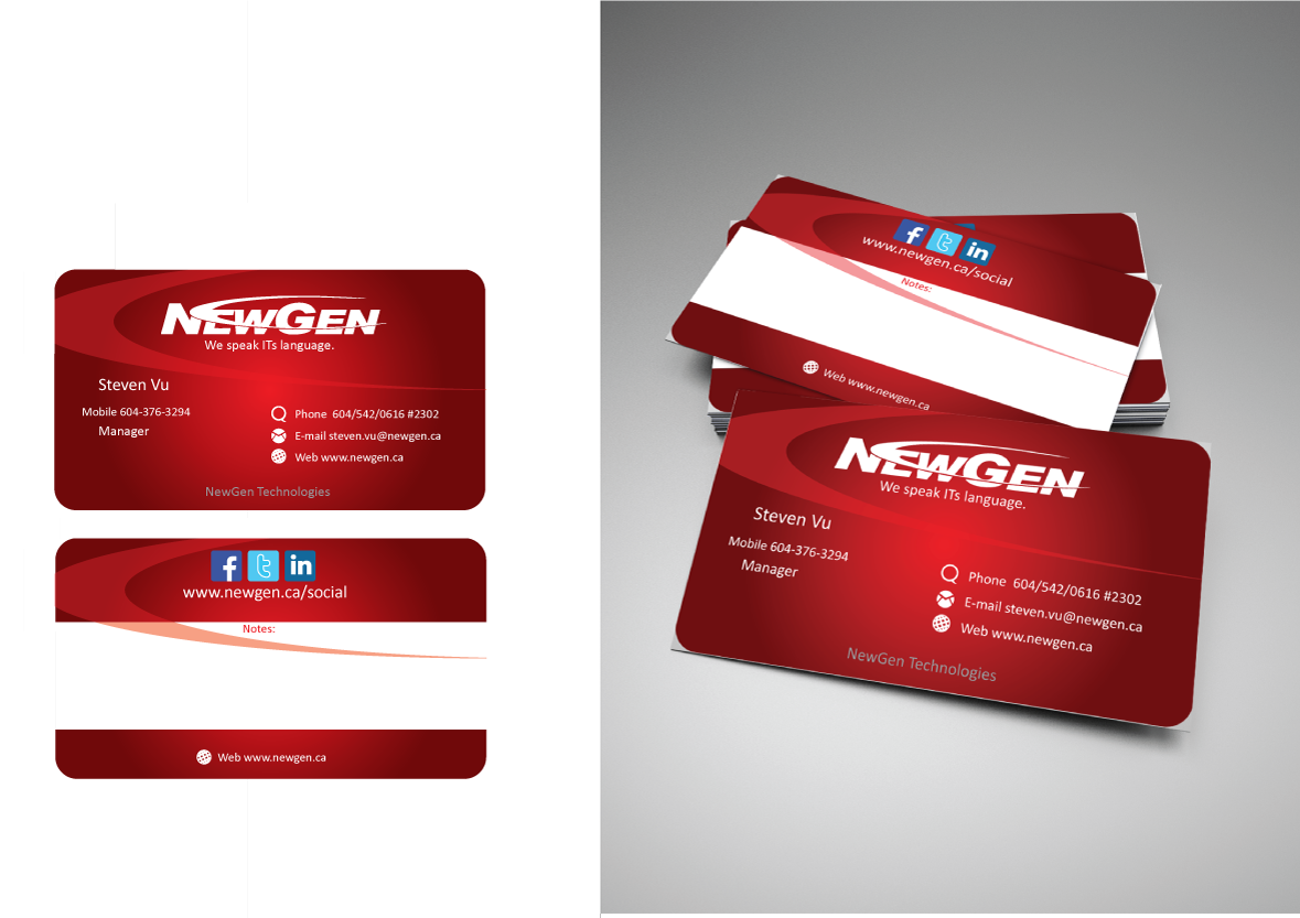 Business Card Design by Severiano Fernandes - Entry No. 16 in the Business Card Design Contest Inspiring Business Card Design for NewGen Technologies.