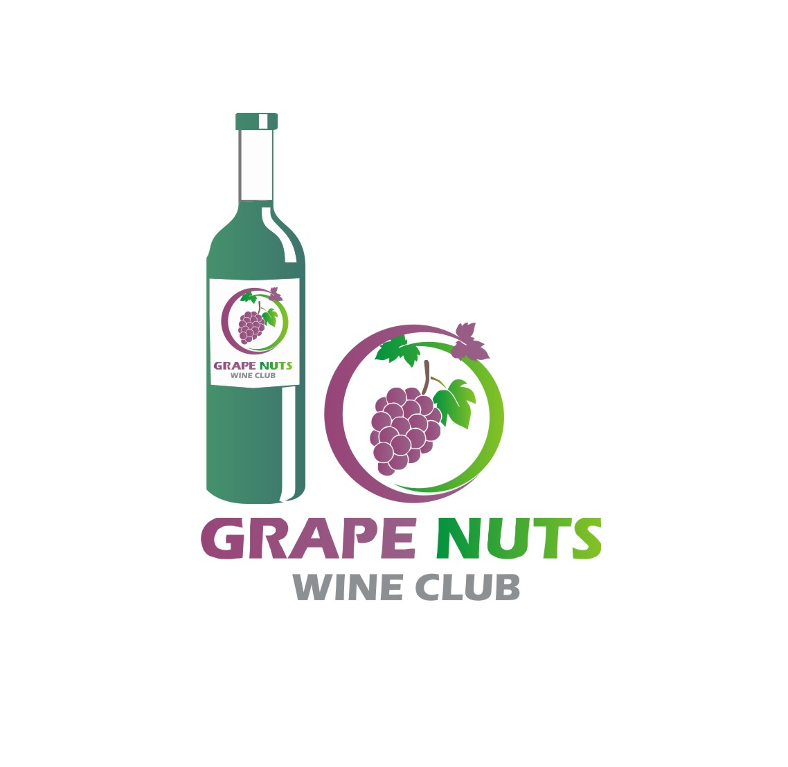 Logo Design by Yuda Hermawan - Entry No. 4 in the Logo Design Contest Artistic Logo Design for Grape Nuts Wine Club.