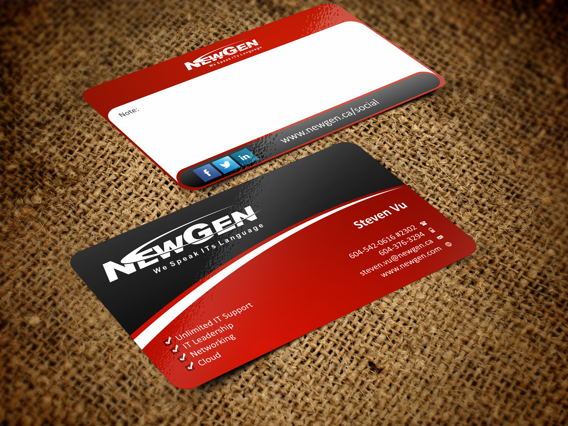 Business Card Design by Muhammad Aslam - Entry No. 39 in the Business Card Design Contest Inspiring Business Card Design for NewGen Technologies.
