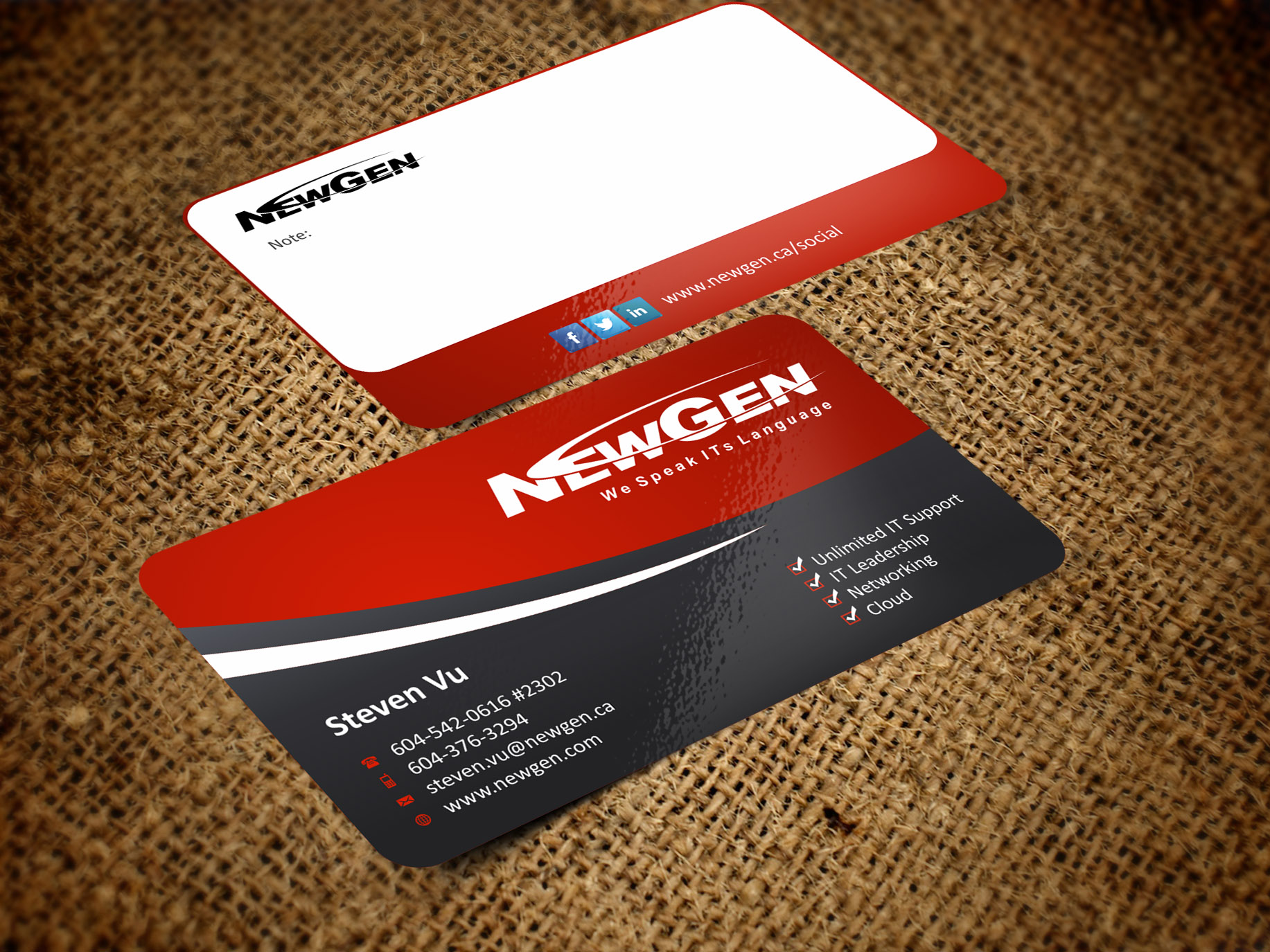 Business Card Design by Muhammad Aslam - Entry No. 40 in the Business Card Design Contest Inspiring Business Card Design for NewGen Technologies.