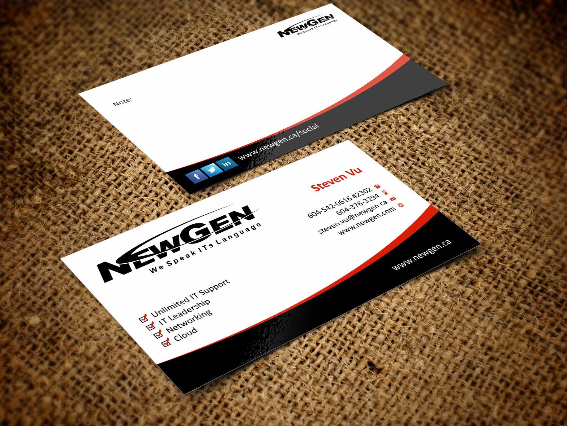 Business Card Design by Muhammad Aslam - Entry No. 42 in the Business Card Design Contest Inspiring Business Card Design for NewGen Technologies.