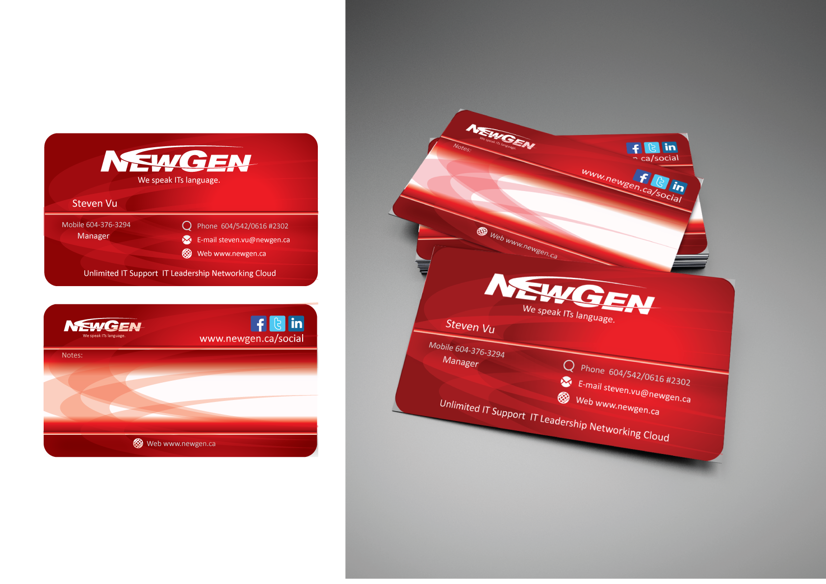 Business Card Design by Severiano Fernandes - Entry No. 54 in the Business Card Design Contest Inspiring Business Card Design for NewGen Technologies.