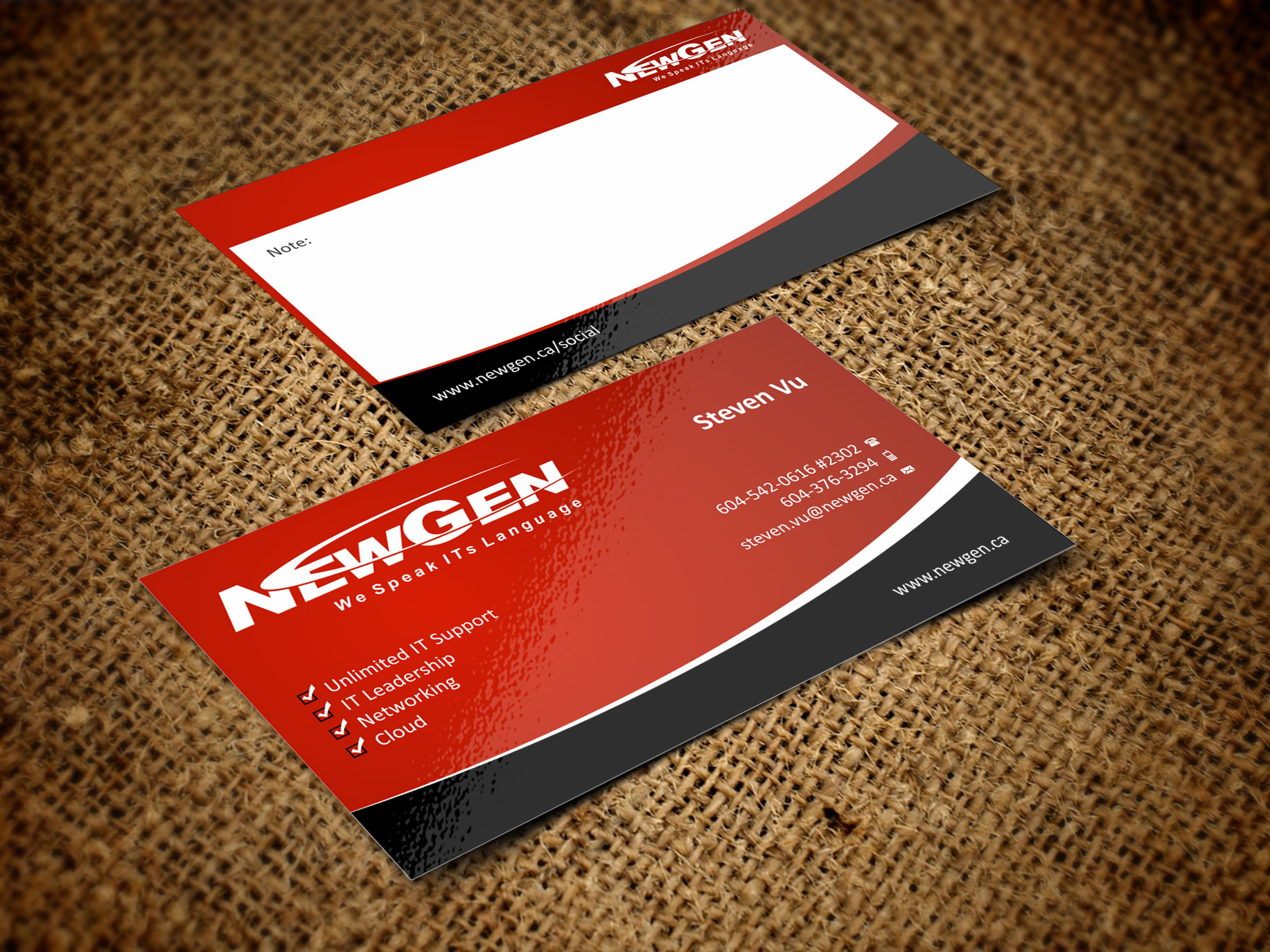 Business Card Design by Muhammad Aslam - Entry No. 72 in the Business Card Design Contest Inspiring Business Card Design for NewGen Technologies.