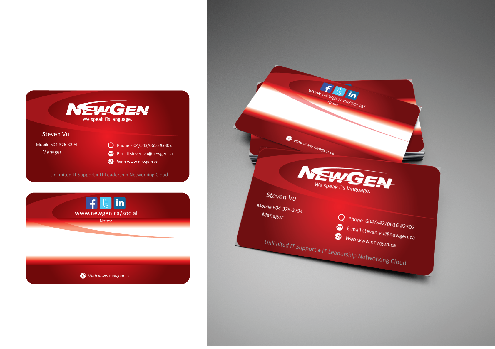Business Card Design by Severiano Fernandes - Entry No. 78 in the Business Card Design Contest Inspiring Business Card Design for NewGen Technologies.