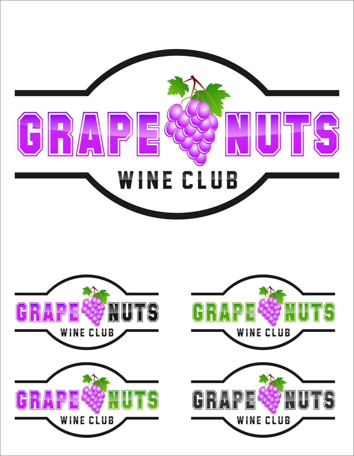 Logo Design by RasYa Muhammad Athaya - Entry No. 36 in the Logo Design Contest Artistic Logo Design for Grape Nuts Wine Club.