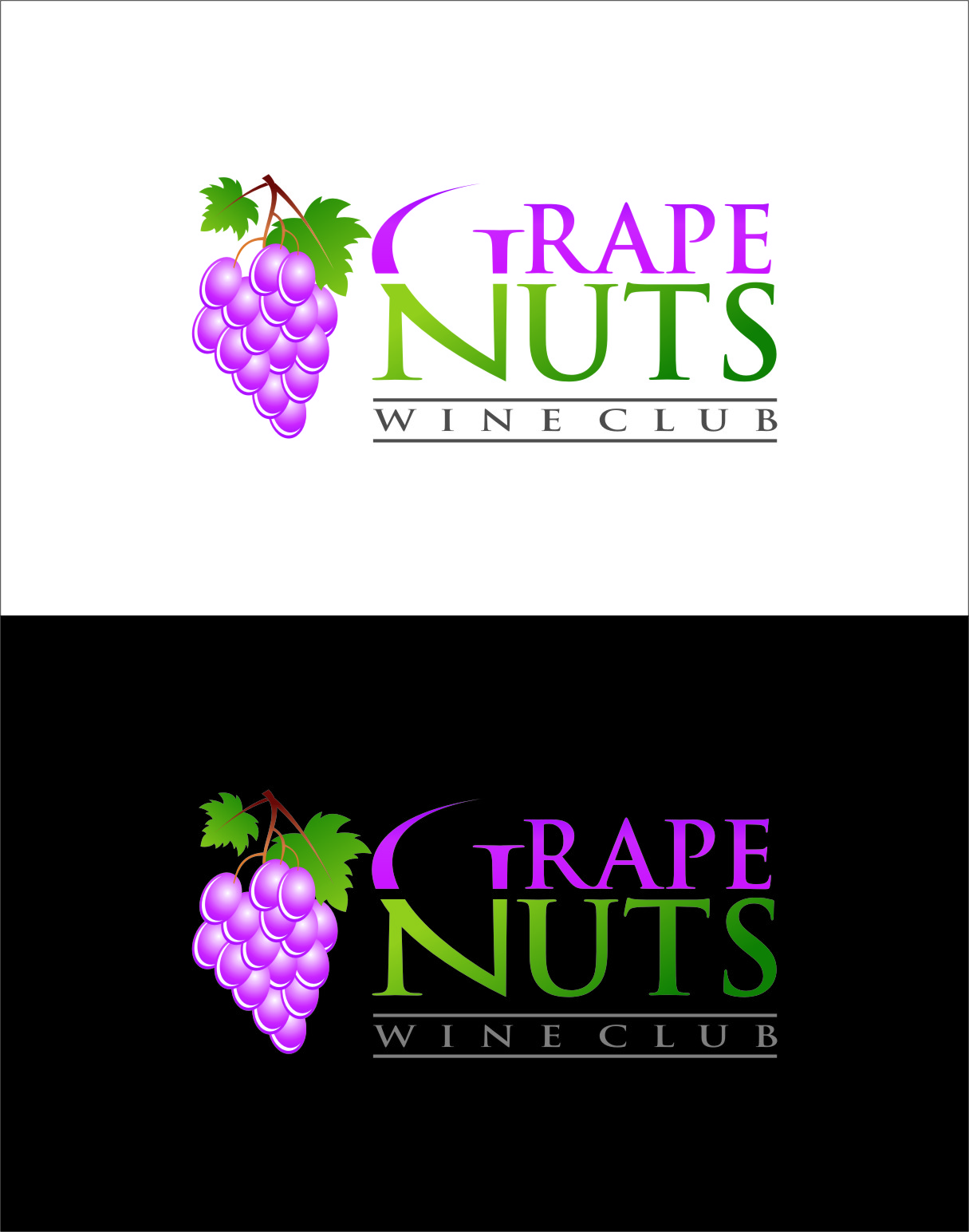 Logo Design by RasYa Muhammad Athaya - Entry No. 43 in the Logo Design Contest Artistic Logo Design for Grape Nuts Wine Club.