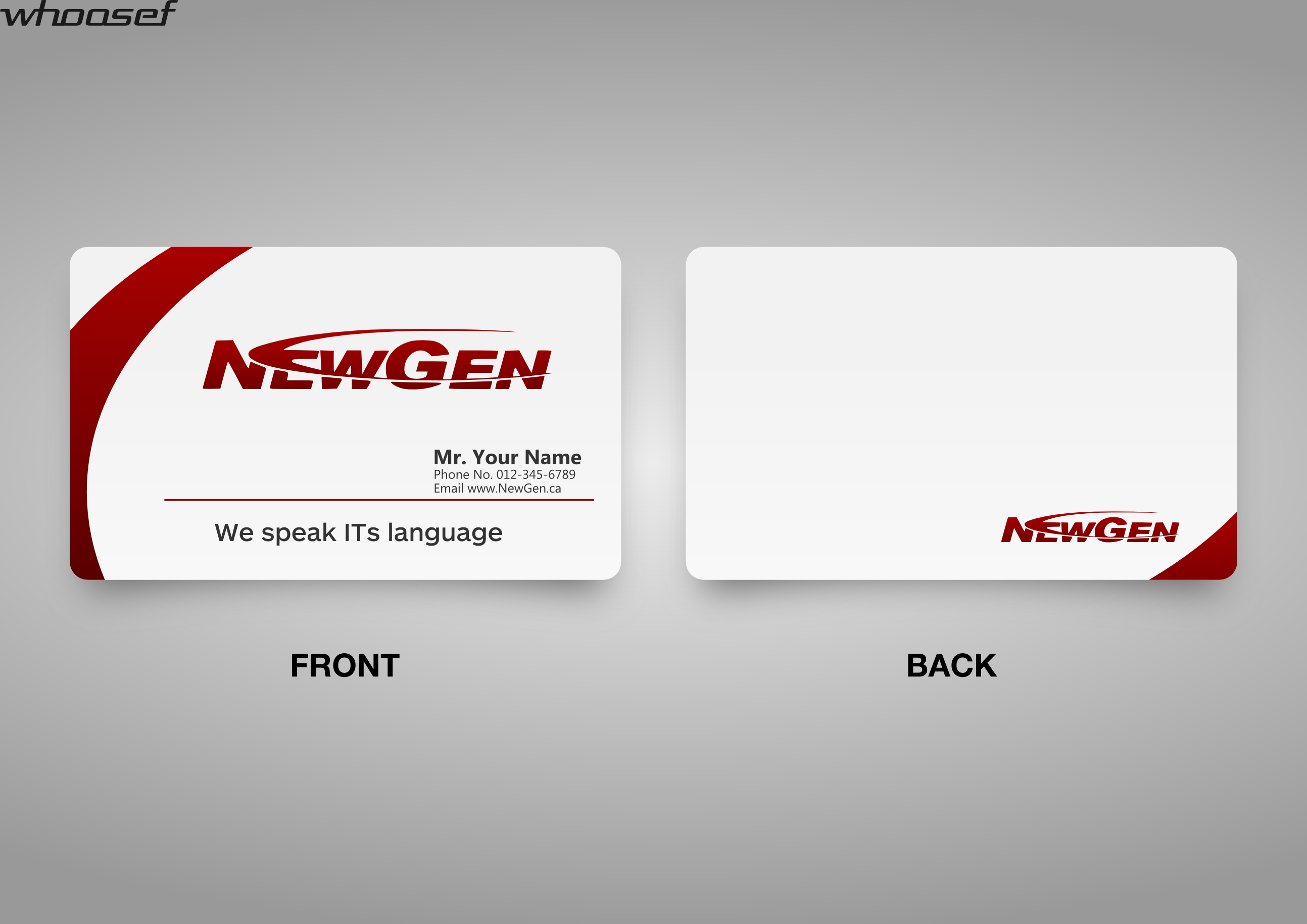 Business Card Design by whoosef - Entry No. 101 in the Business Card Design Contest Inspiring Business Card Design for NewGen Technologies.