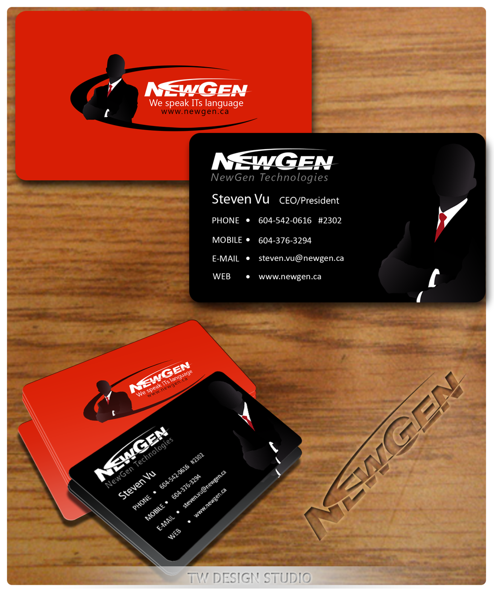 Business Card Design by Private User - Entry No. 106 in the Business Card Design Contest Inspiring Business Card Design for NewGen Technologies.