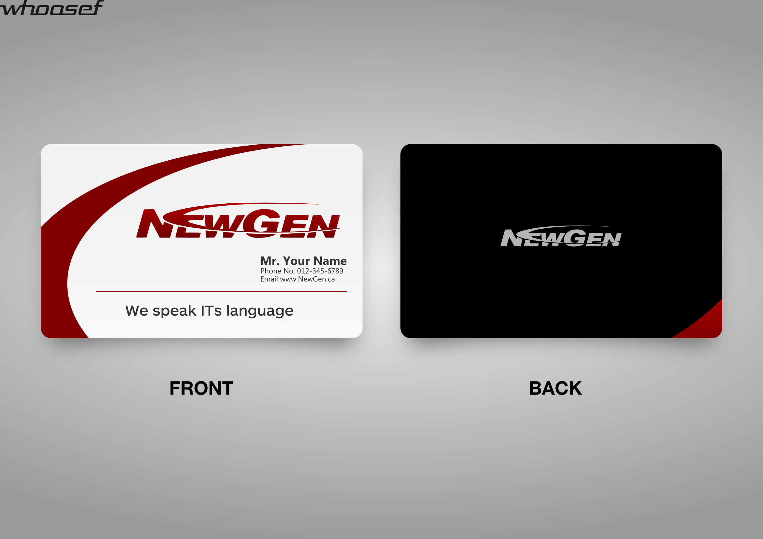 Business Card Design by whoosef - Entry No. 113 in the Business Card Design Contest Inspiring Business Card Design for NewGen Technologies.